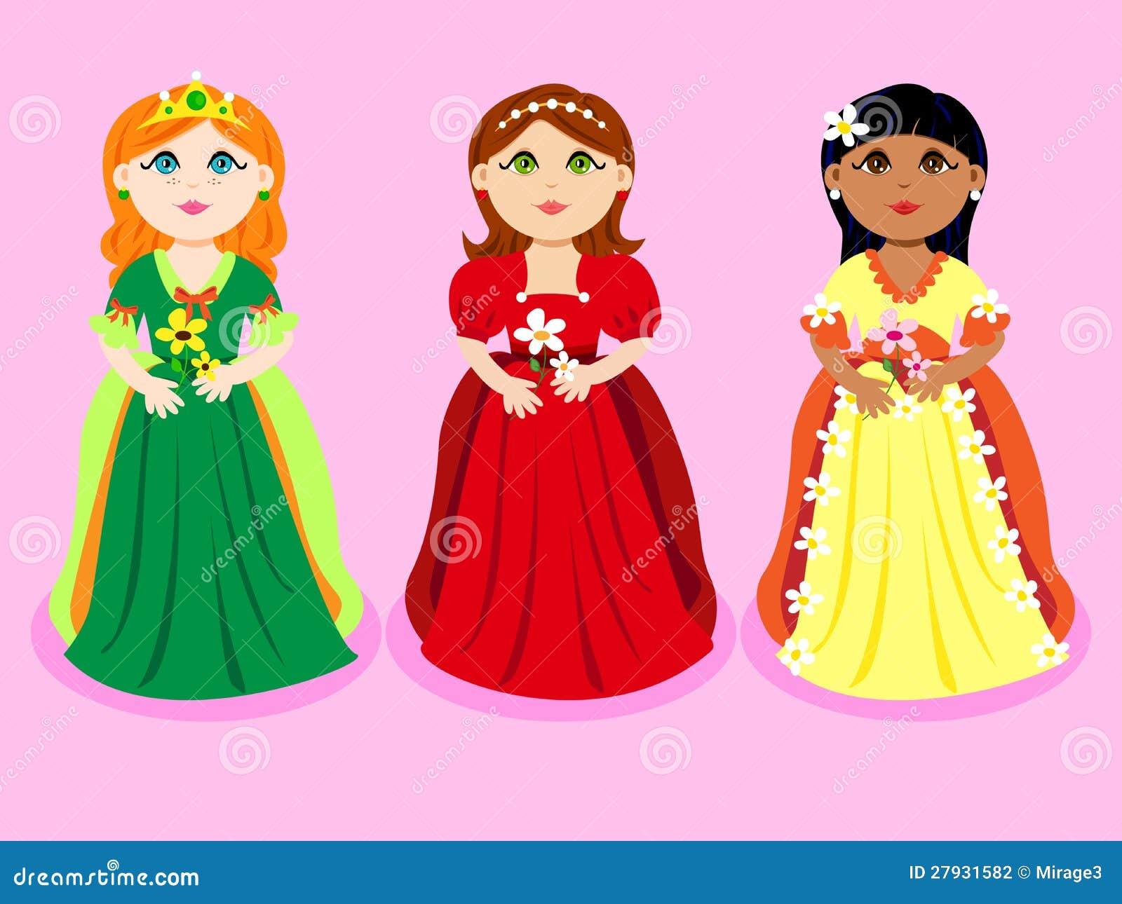 Trio De Princesas Dos Desenhos Animados Ilustracao Do Vetor