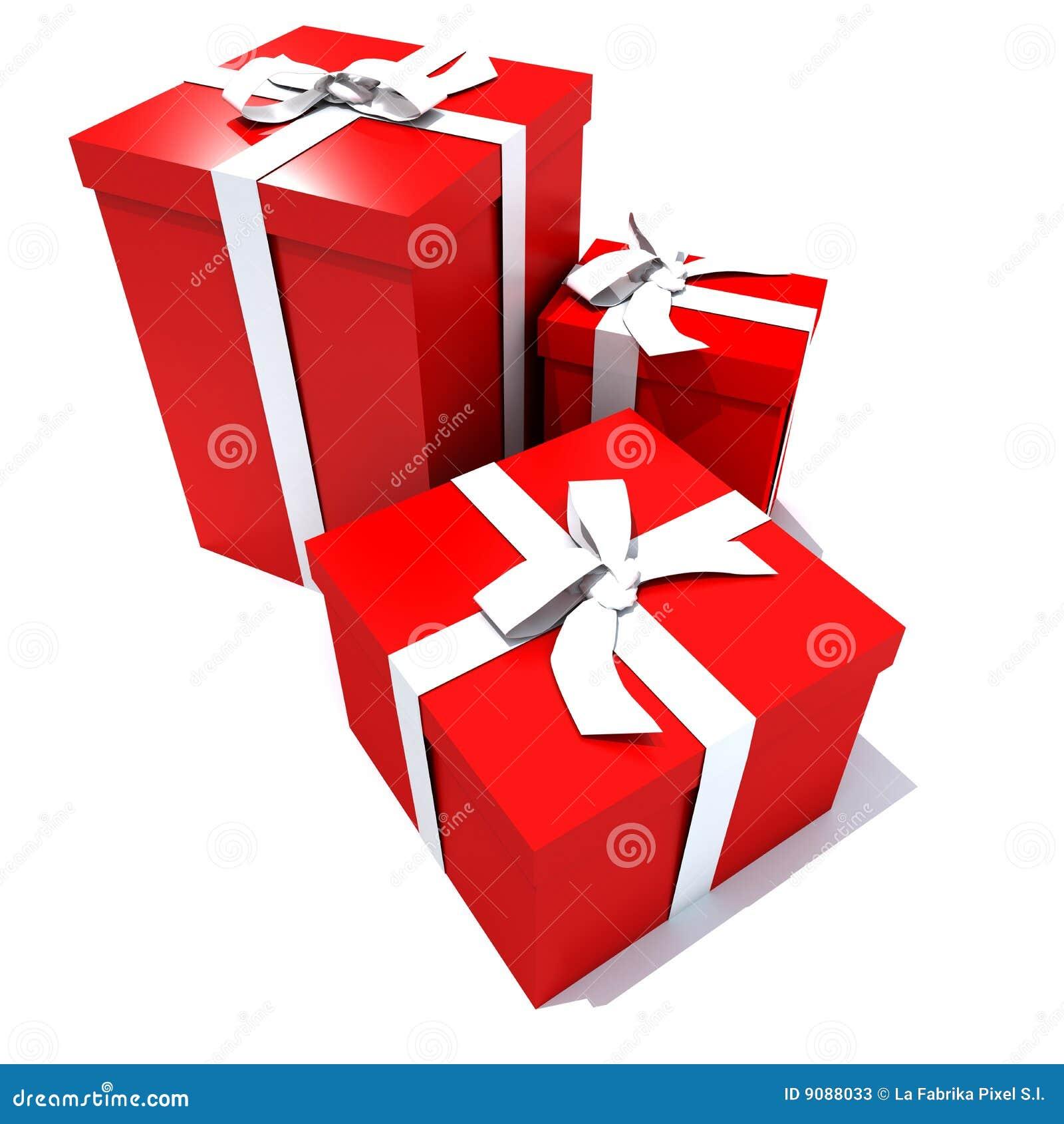 Trio der roten und weißen Geschenkkästen