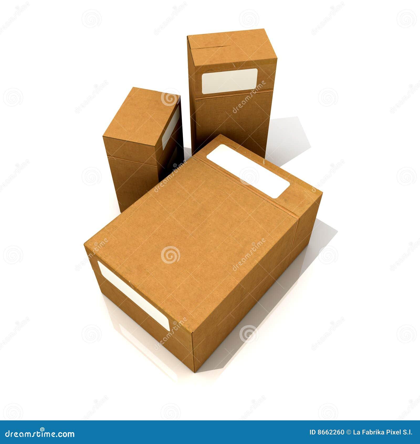 Trio des boîtes en carton