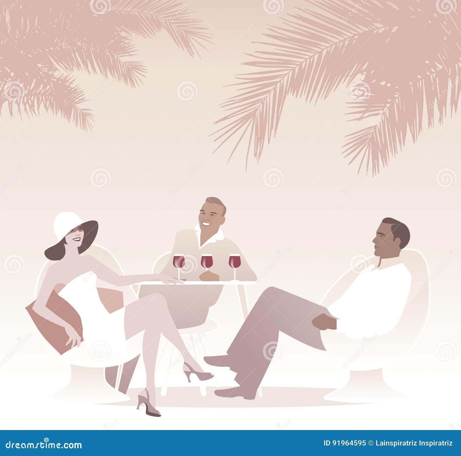 Trio die rode wijn drinken onder de palmen Retro scène van de stijlzomer
