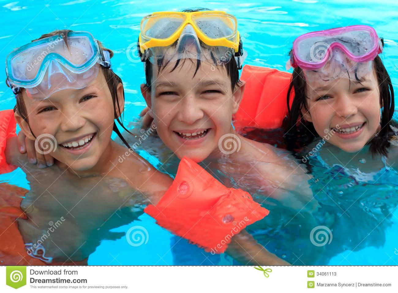 Trio Of Happy Children In Swimming Pool Stock Image Image Of Swim Sister 34061113