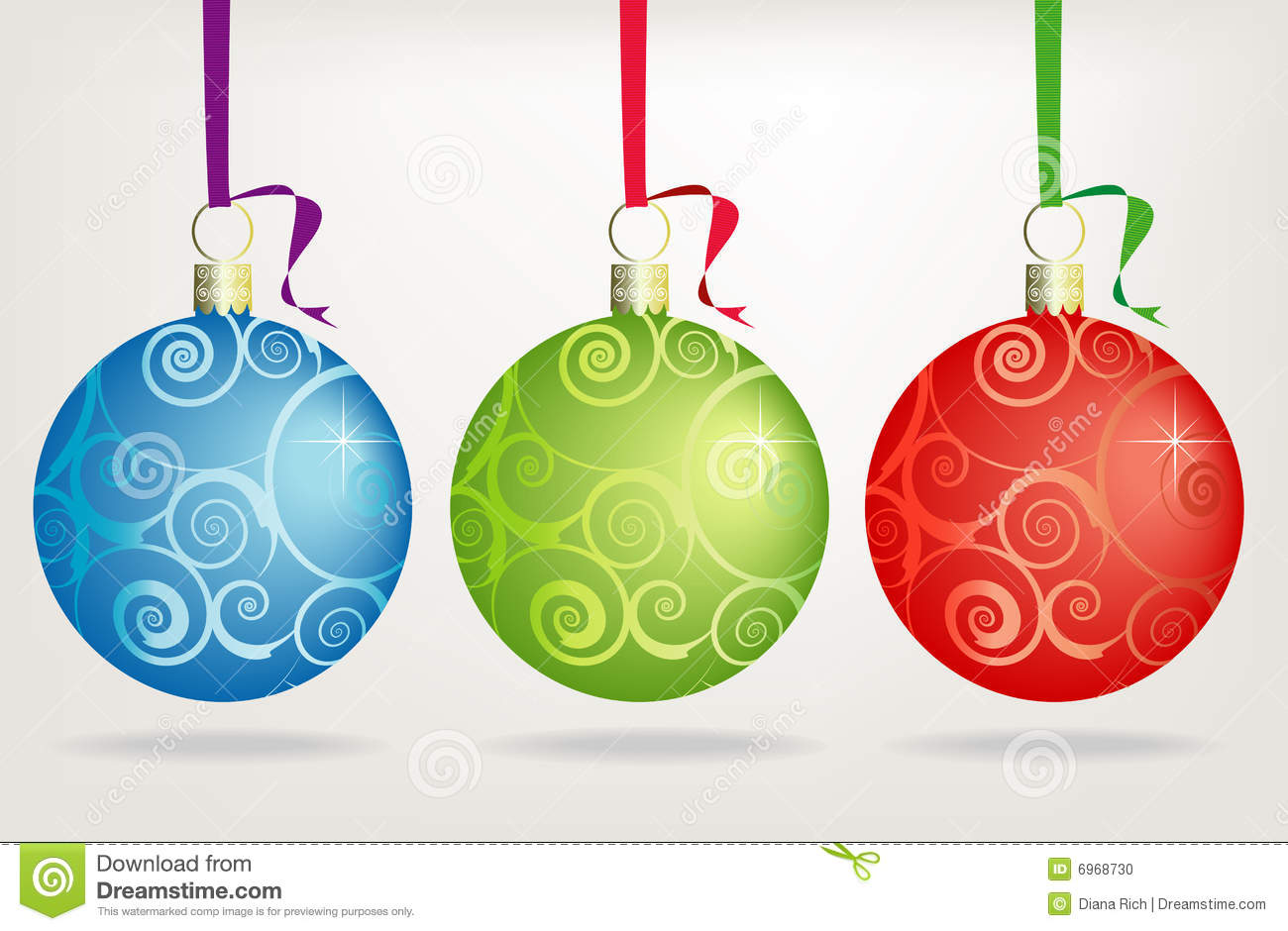 Trio Swirly Christmas Ornaments Stock Photo - Image: 6968730