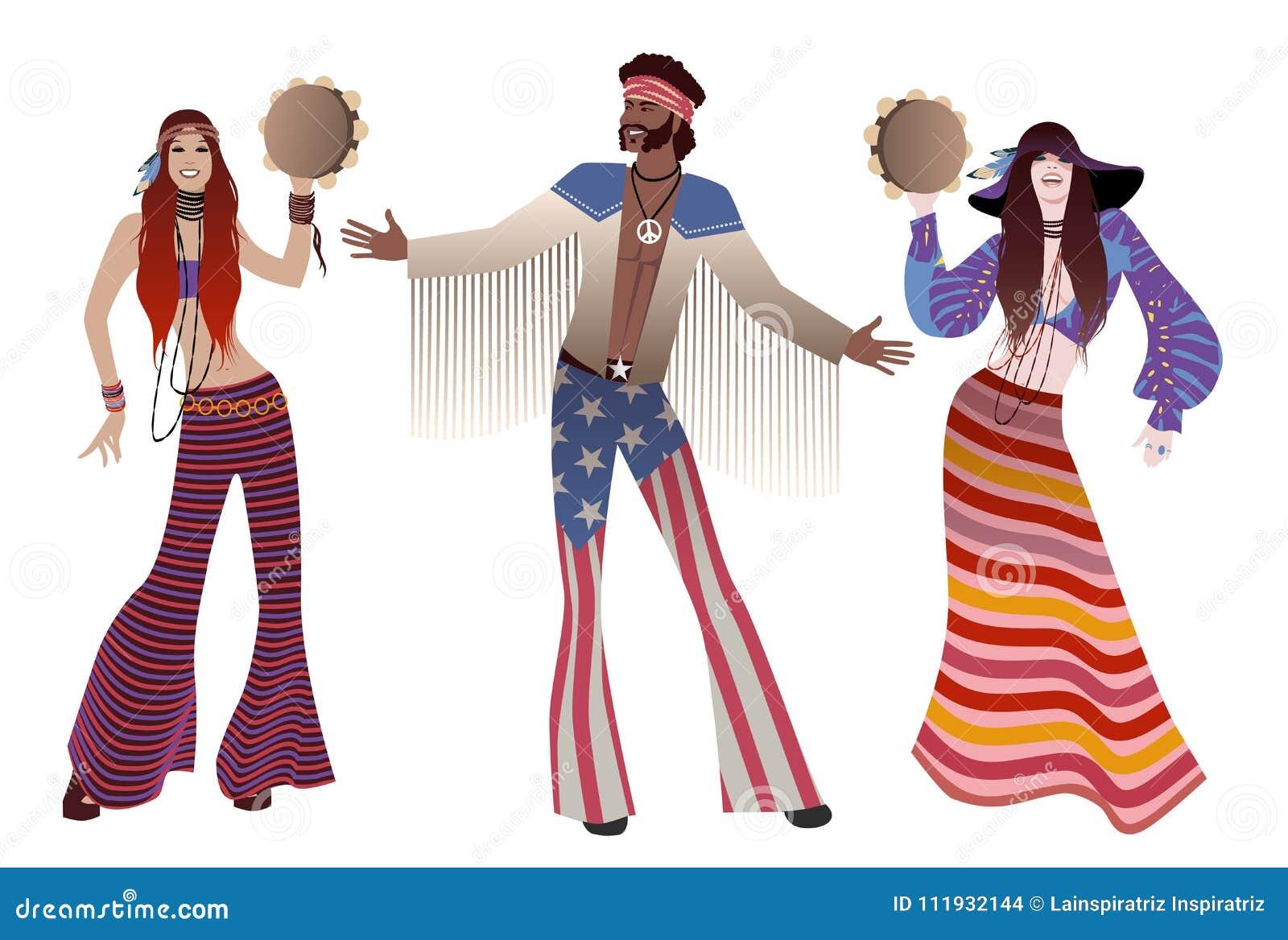 Trio, twee meisjes tamboerijnen spelen en een jongen die hippiekleren van de jaren  60 en de jaren  70 dragen