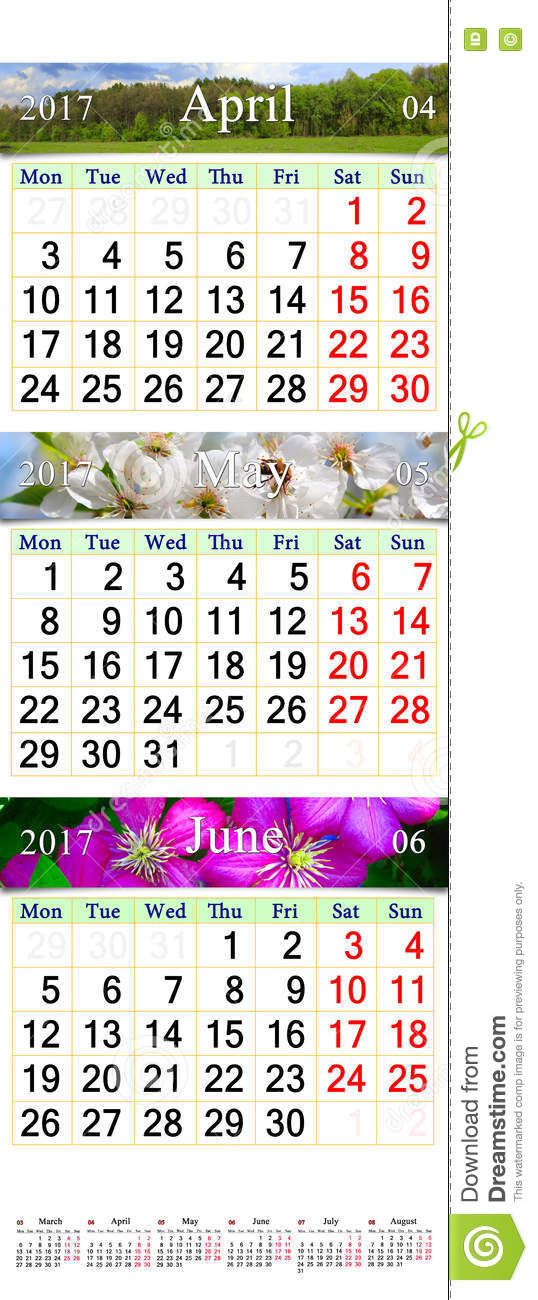 Xs Calendar April : Triple calendar for april may and june with images