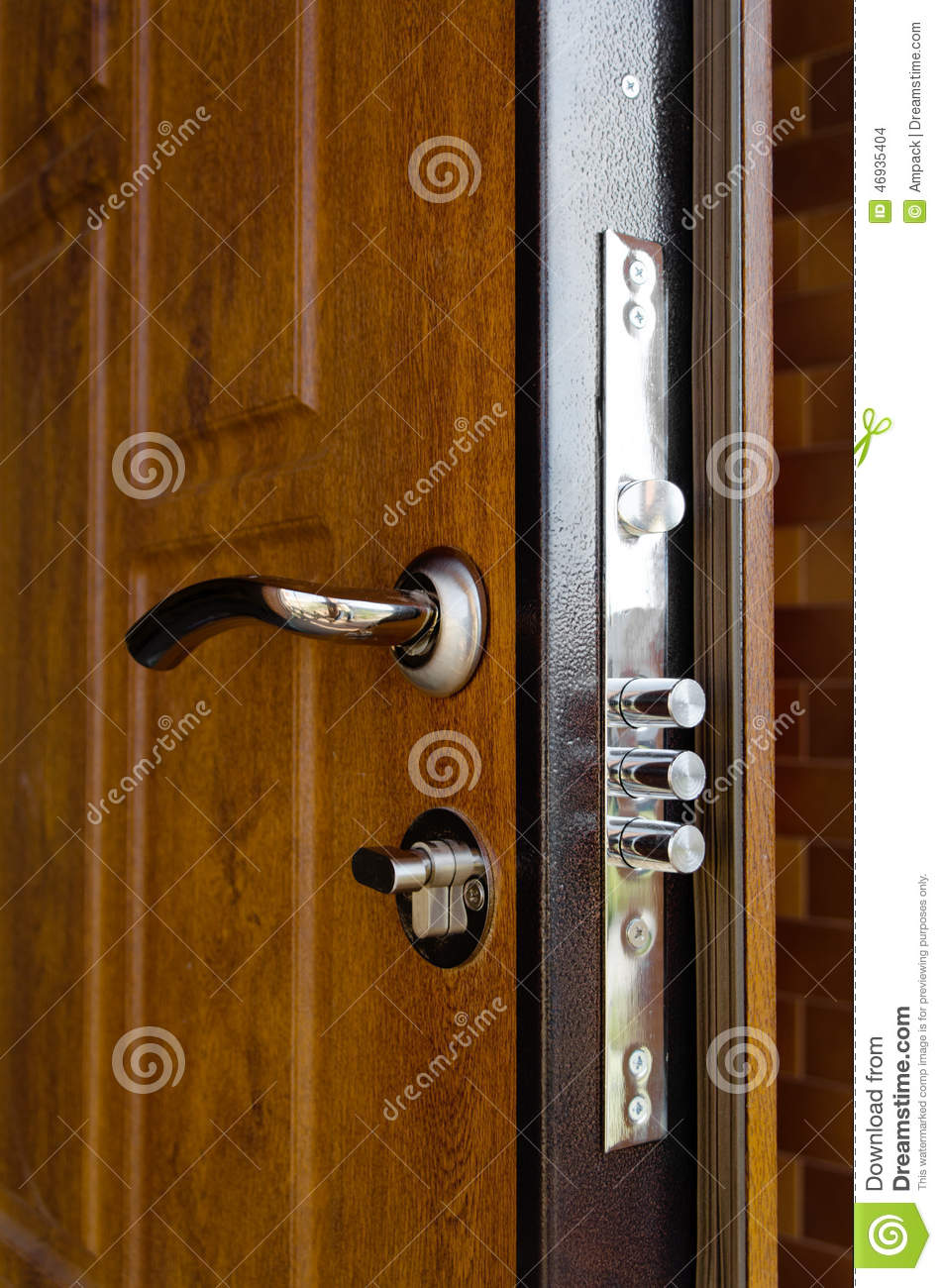 Triple Cylinders On A New High Security Lock Stock Photo Image 46935404