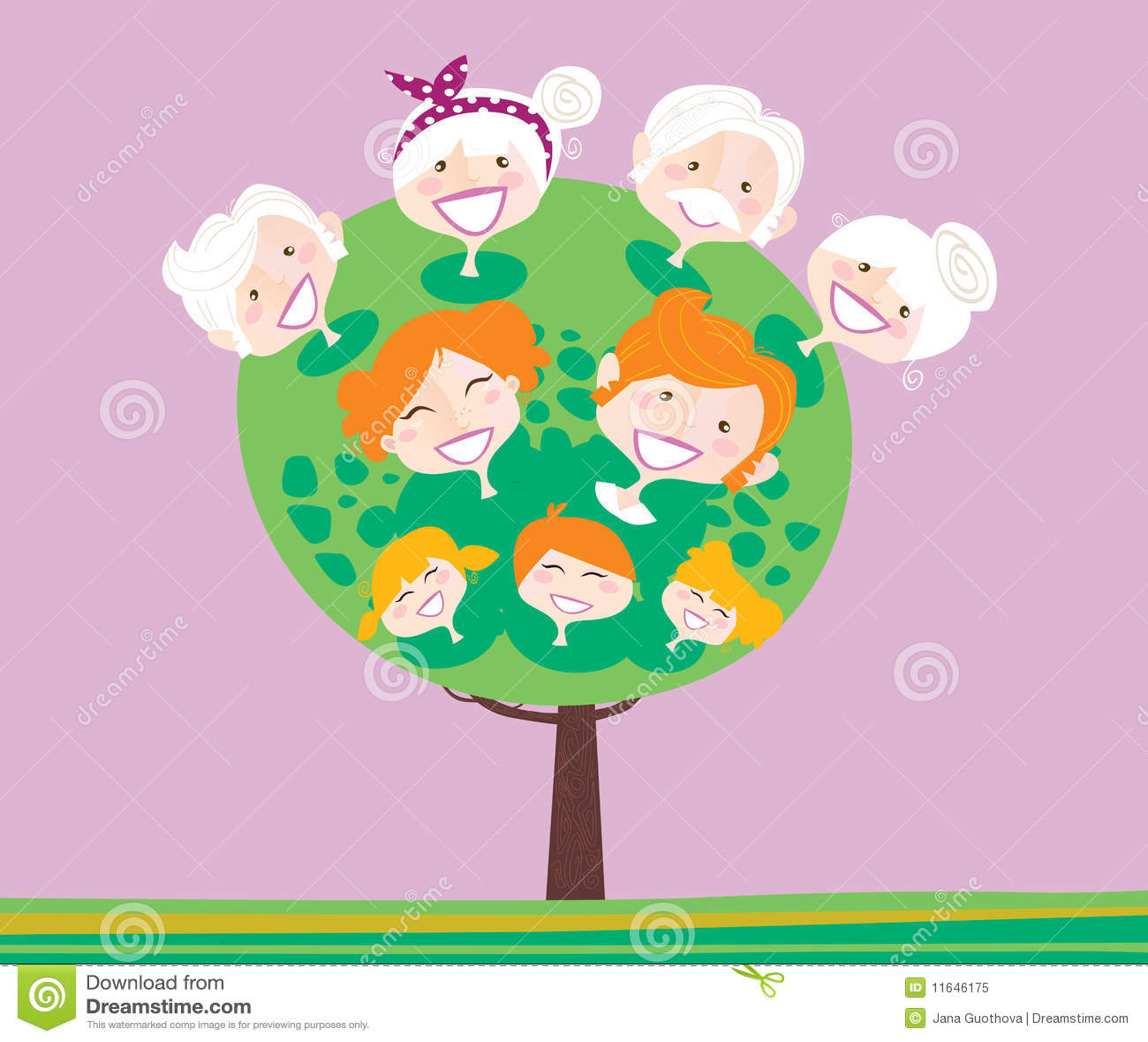 Triple generation family tree