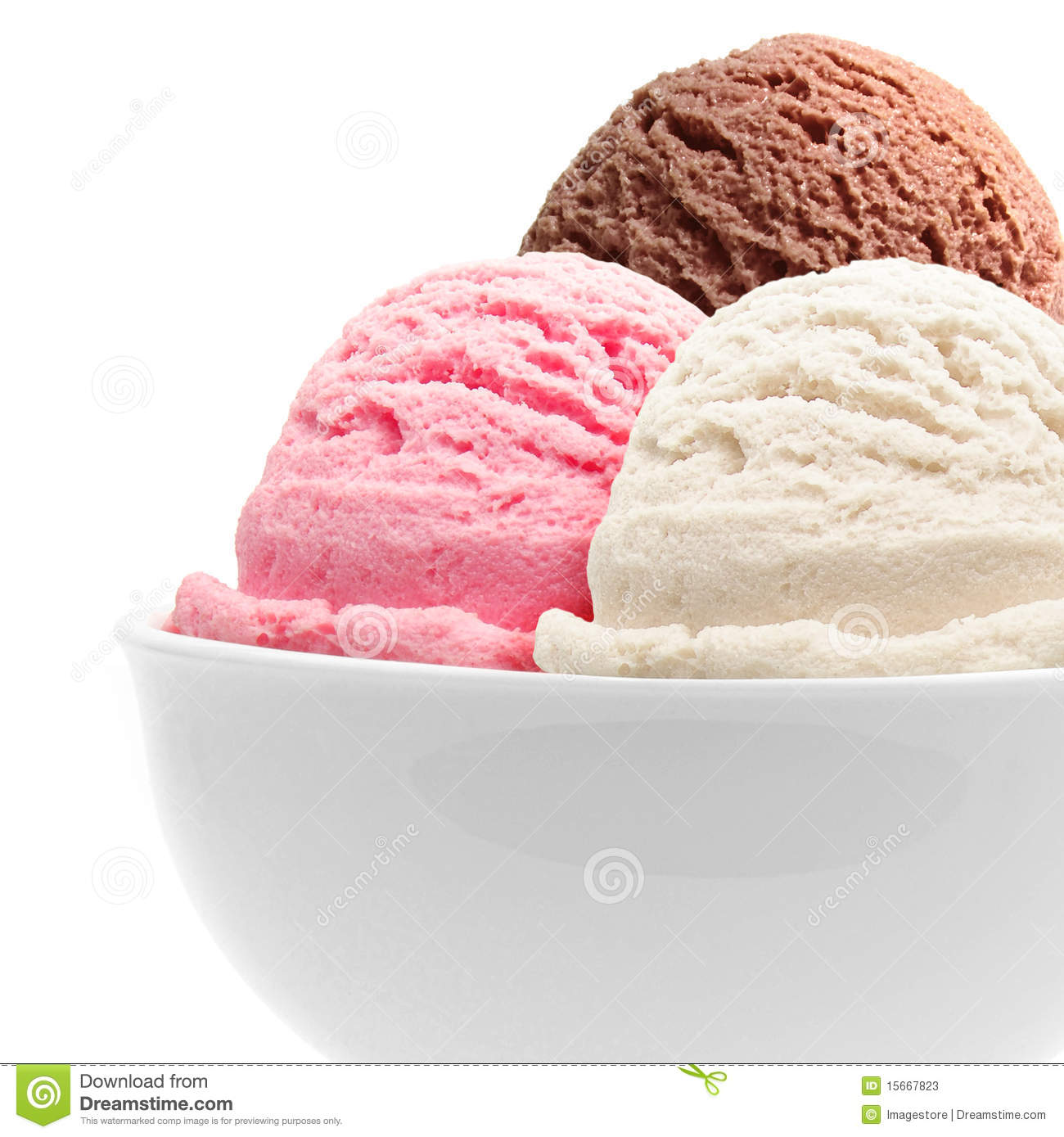 Three scoops of chocolate, strawberry and vanilla ice cream in bowl.