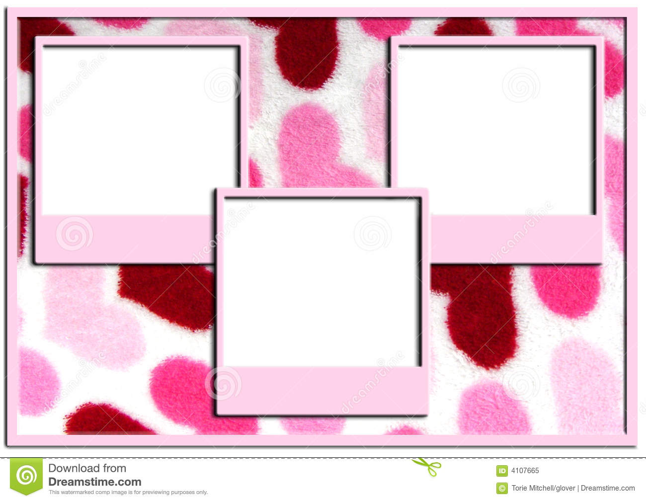 Triple Picture Frames On Heart Background Stock Image - Image of ...