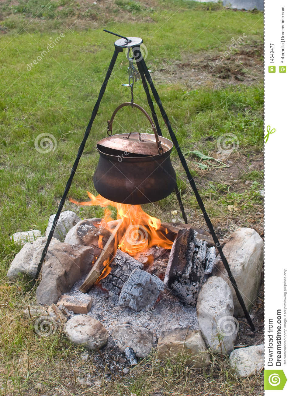 Tripod Campfire Cooking Royalty Free Stock Photography