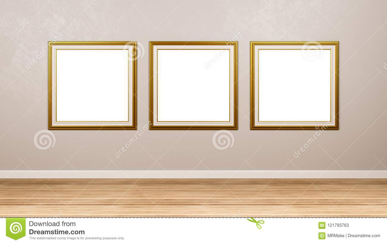 Triptych Of Golden Square Empty Picture Frame At The Wall Stock ...