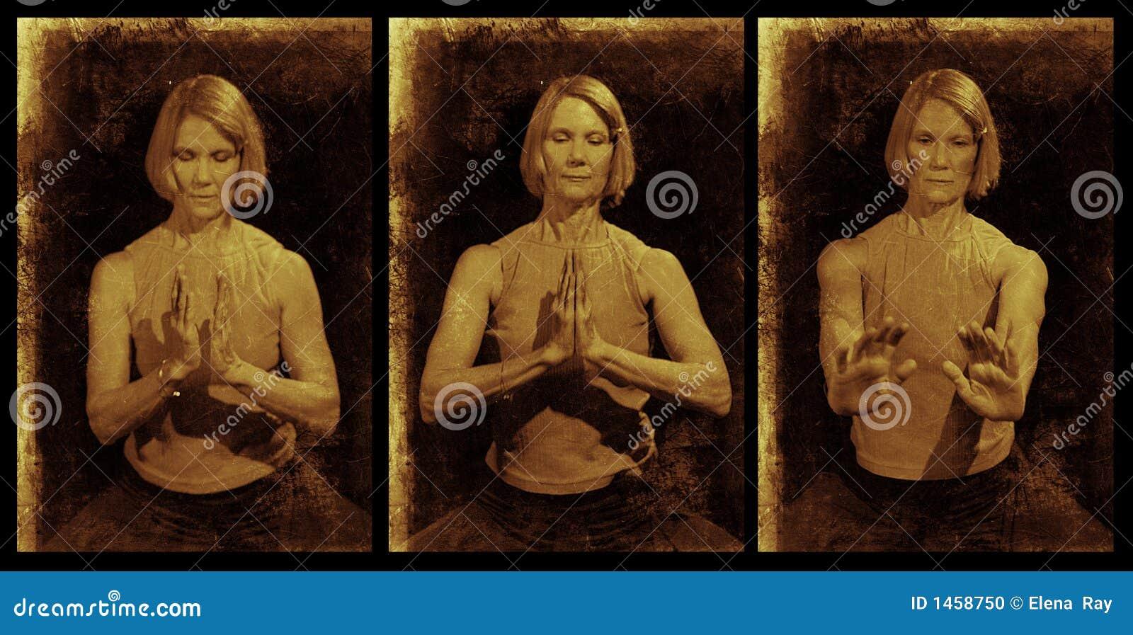Triptyque de Mudra de yoga