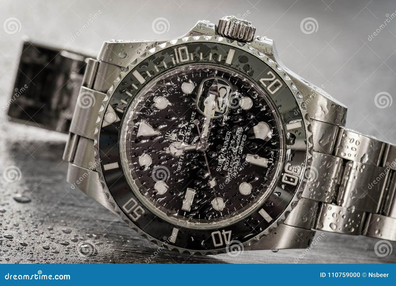 Tripulante de submarino de Rolex Vista detallada de un icónico, suizo-hecha hombres el ` s buceadores mecánicos reloj