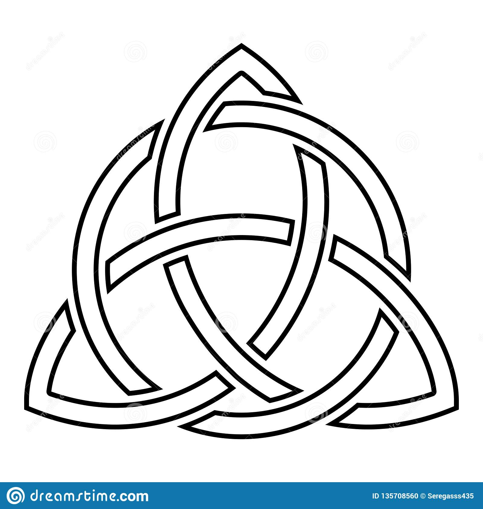 Triquetra In Circle Trikvetr Knot Shape Trinity Knot Icon Black