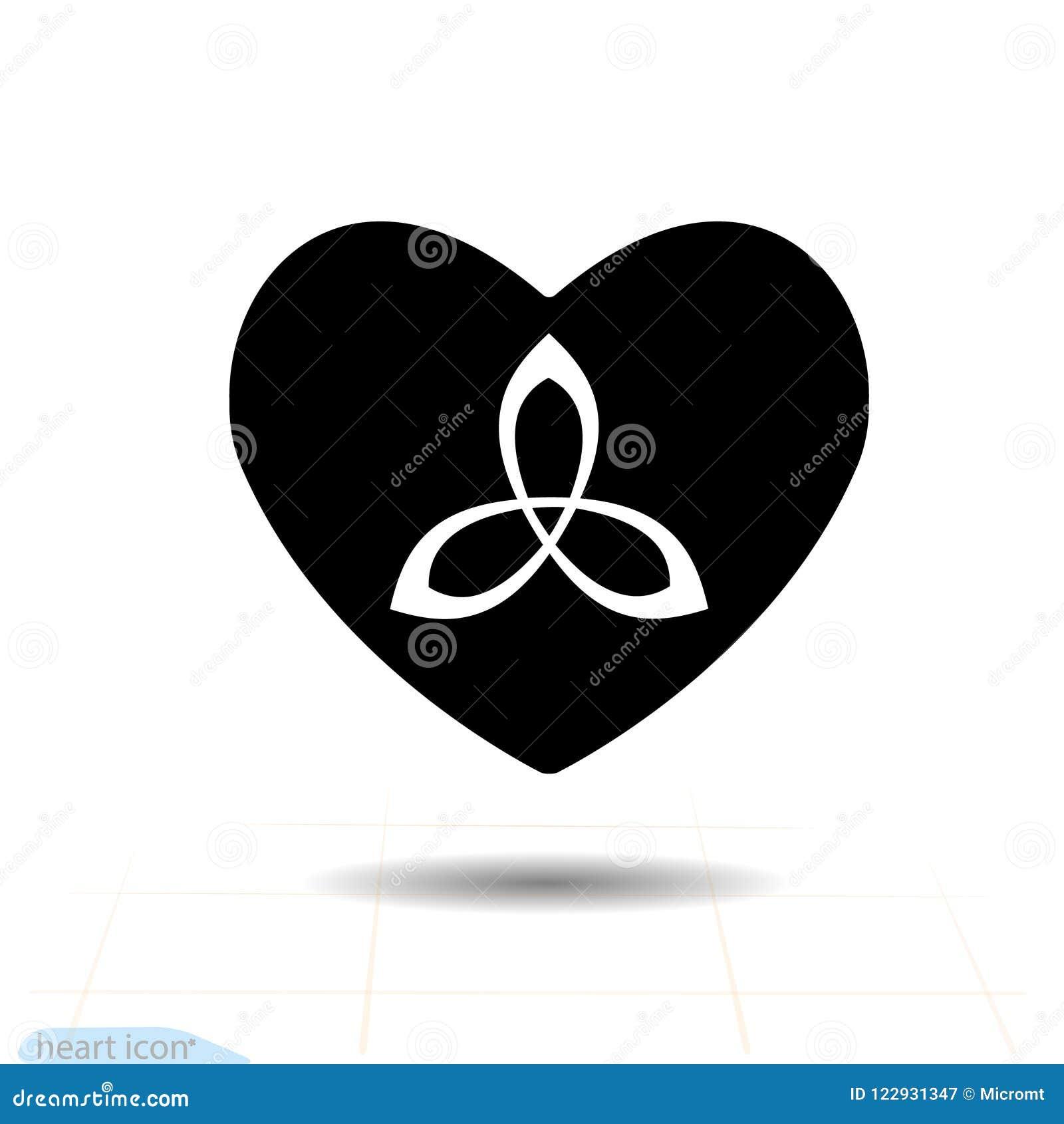 Heart Vector Black Icon Love Symbol Triquetra Trinity Or Celtic