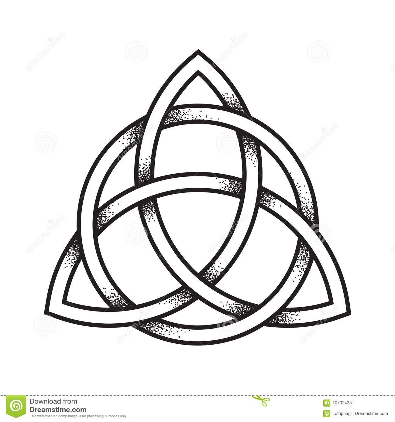 Triquetra trinity knot celtic symbol of eternity vector stock triquetra or trinity knot hand drawn dot work ancient stock image buycottarizona Image collections