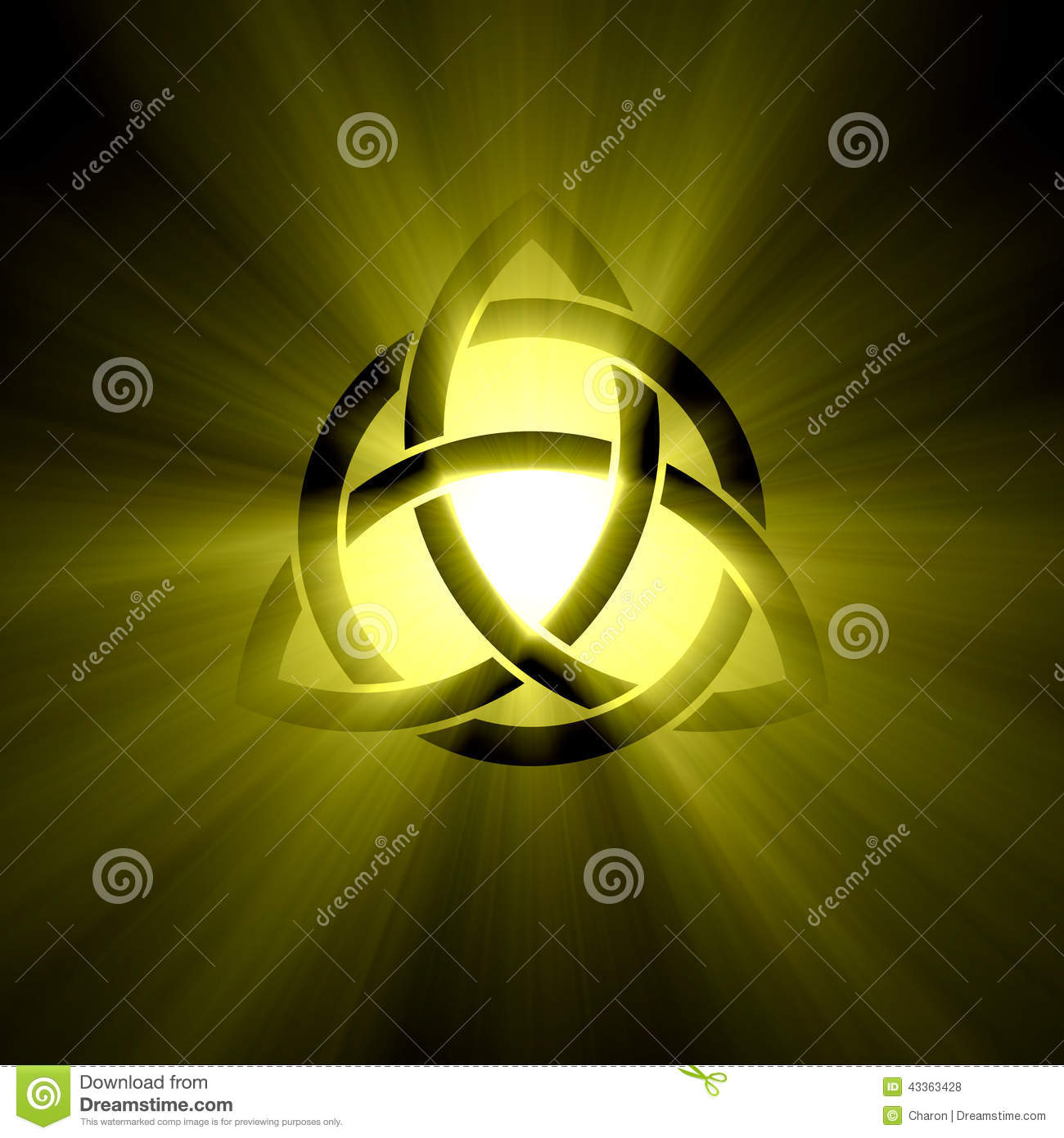 triquetra trinity symbol halo light flare stock photo