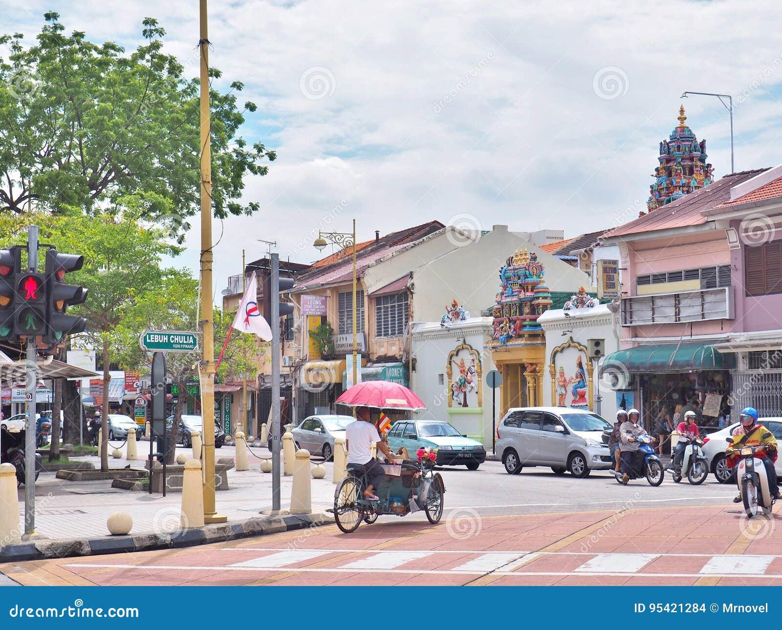 Trishaw bij de verbinding van Lebuh Chulia met Jalan Masjid Kapitan Keling vroeger Pitt Street in George Town