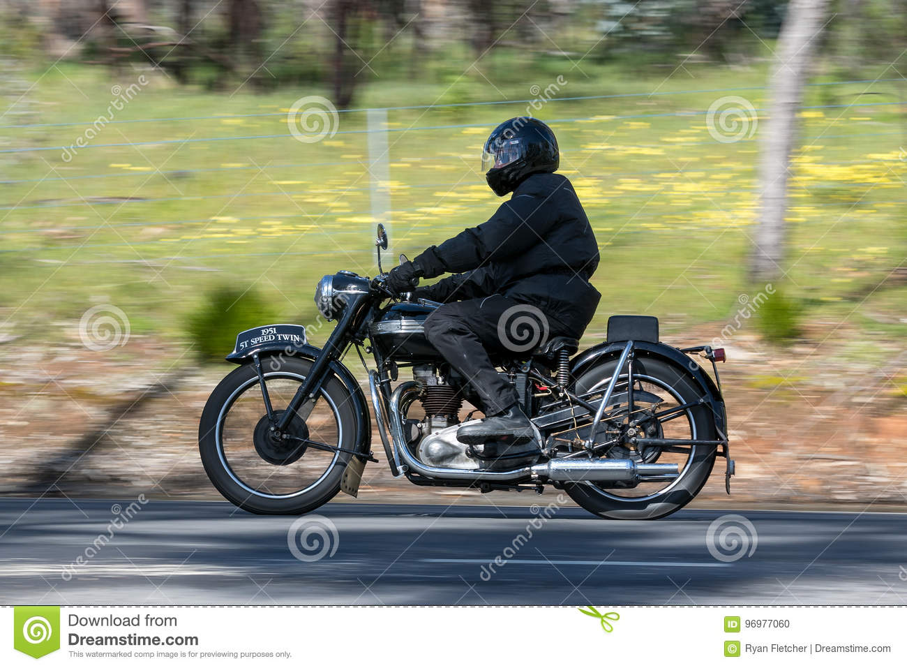 1951 Triumph Speed Twin Motorcycle On Country Road Editorial Image Image Of Classic Automotive 96977060