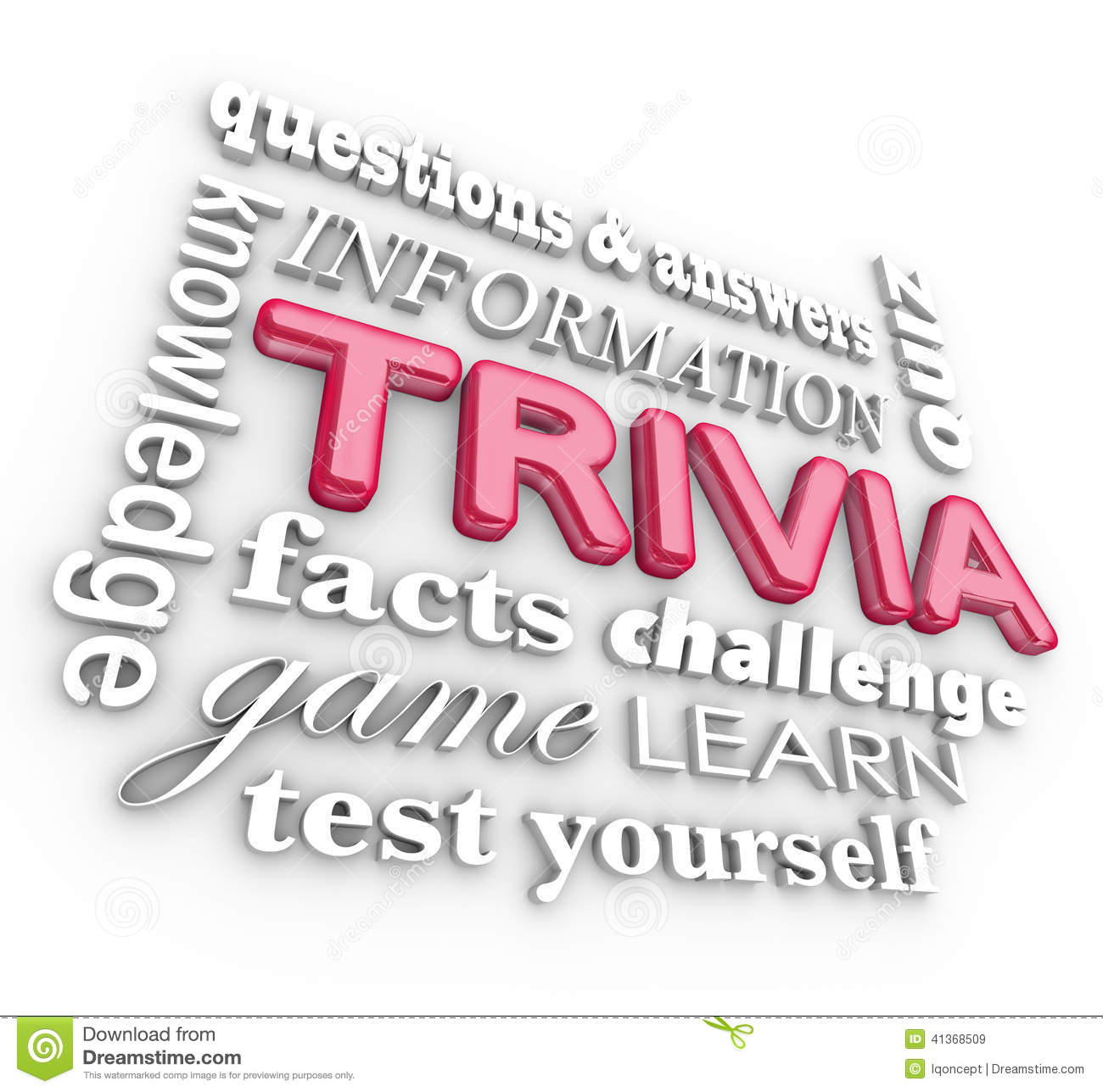 Trivia 3d Word Collage Game Questions Answers Quiz Stock