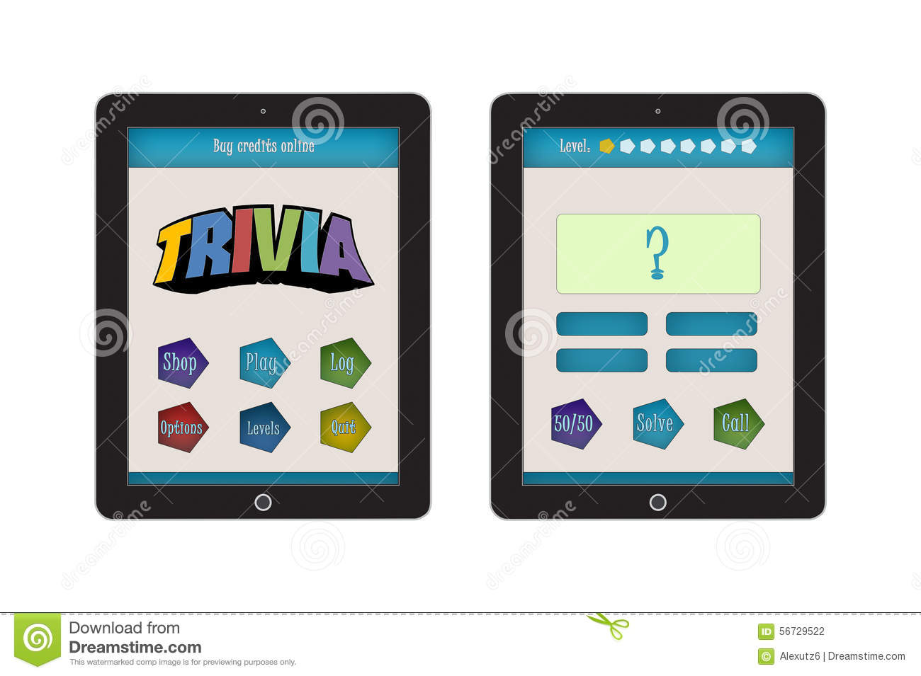 Trivia Game App Template For Mobile App And Website Design Stock Photo Image 56729522