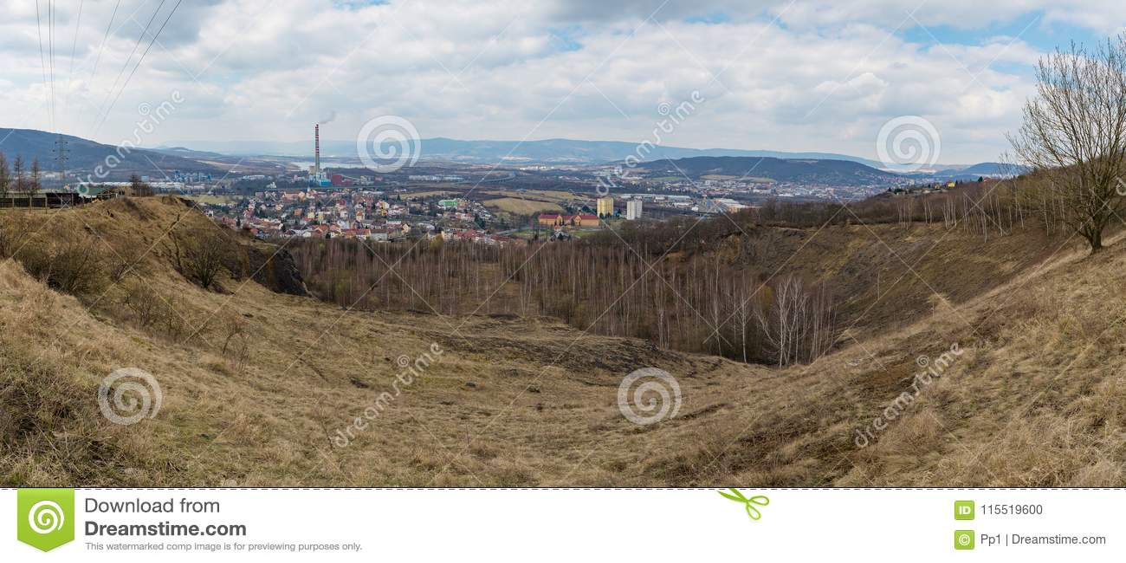 Trmice Usti nad Labem miasta przemysłowa panorama