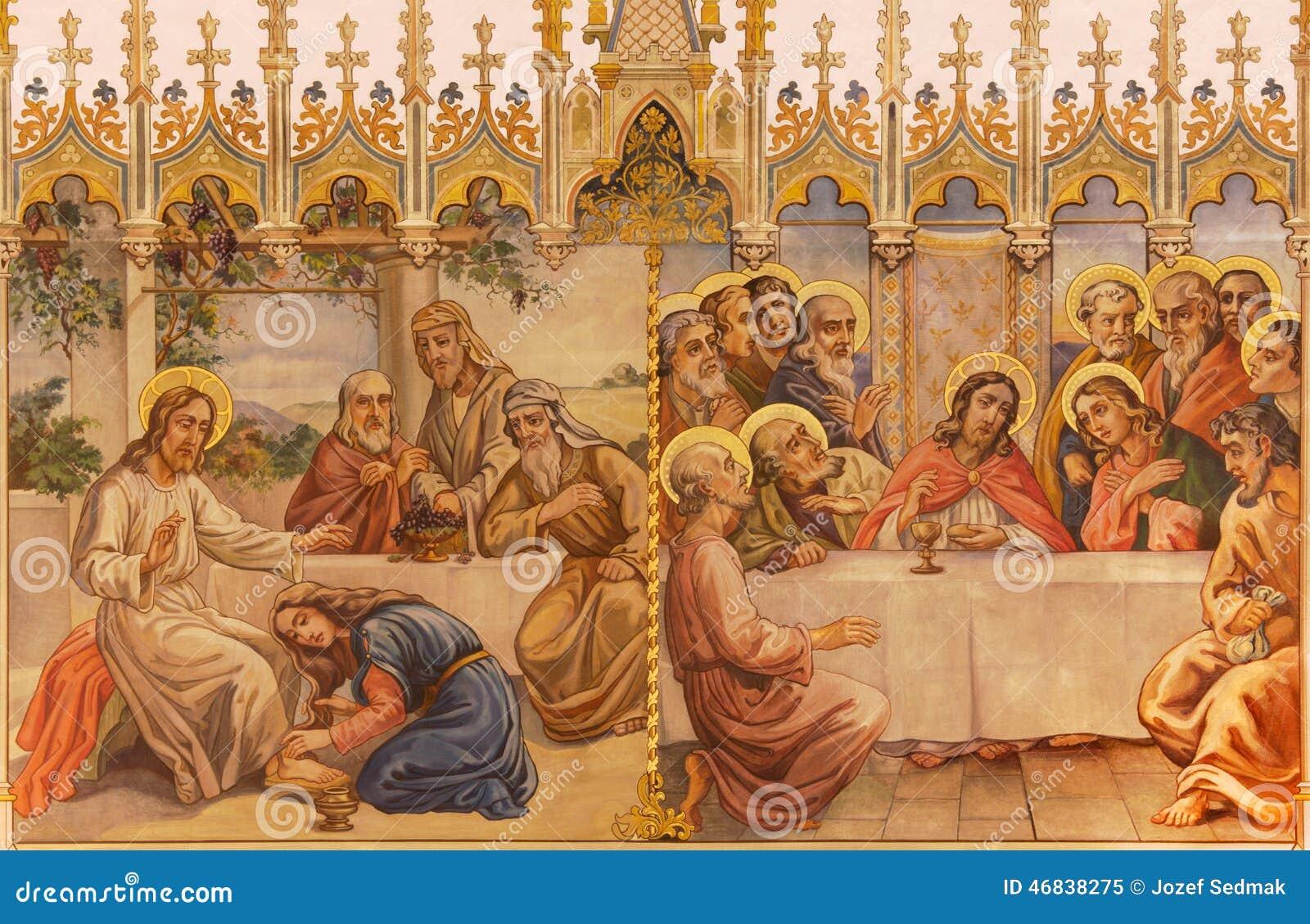Trnava - de neogotische fresko van fhe Laatste avondmaal en Jesus en zondige vrouw