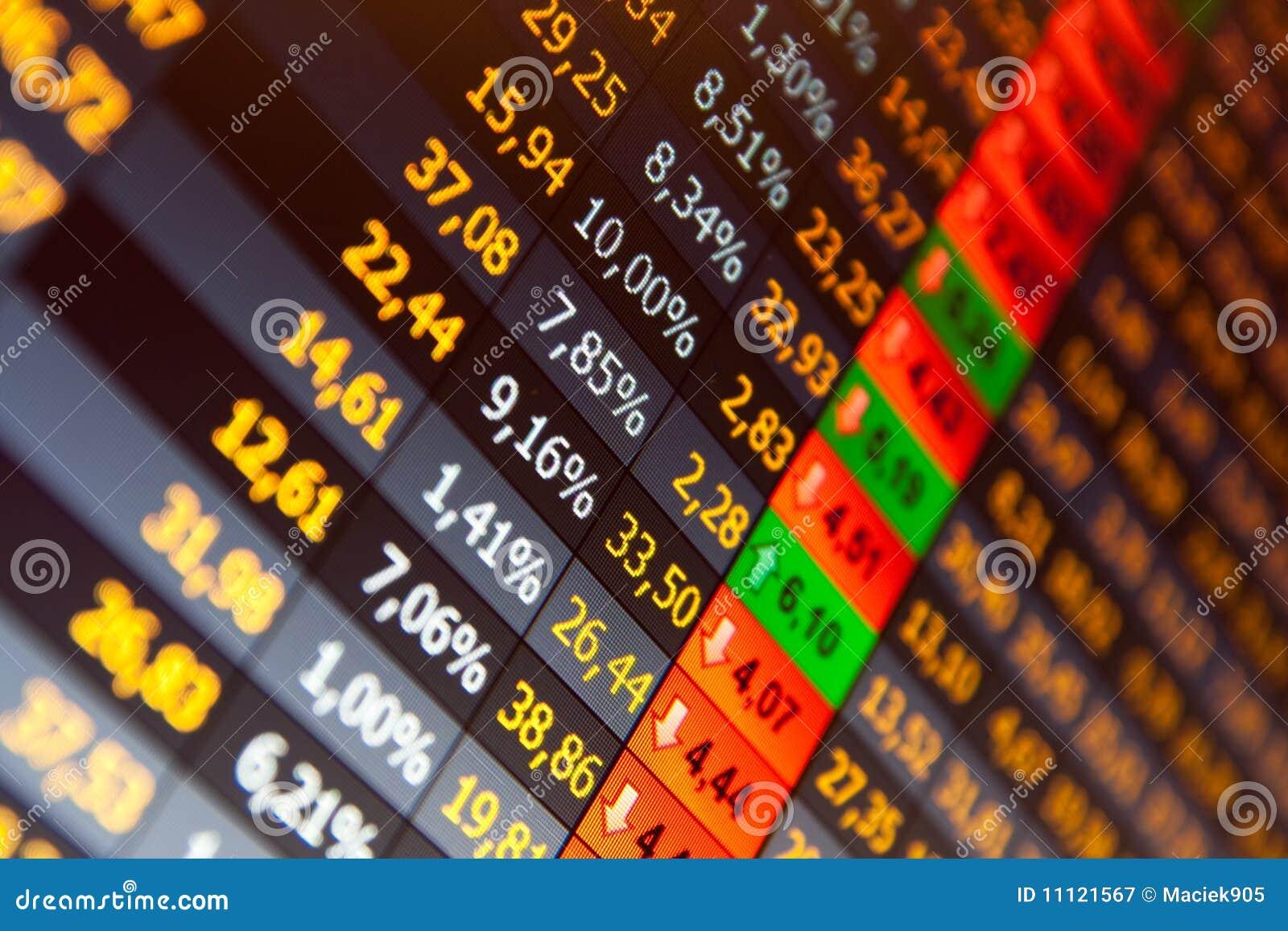 Troca conservada em estoque de dados financeiros