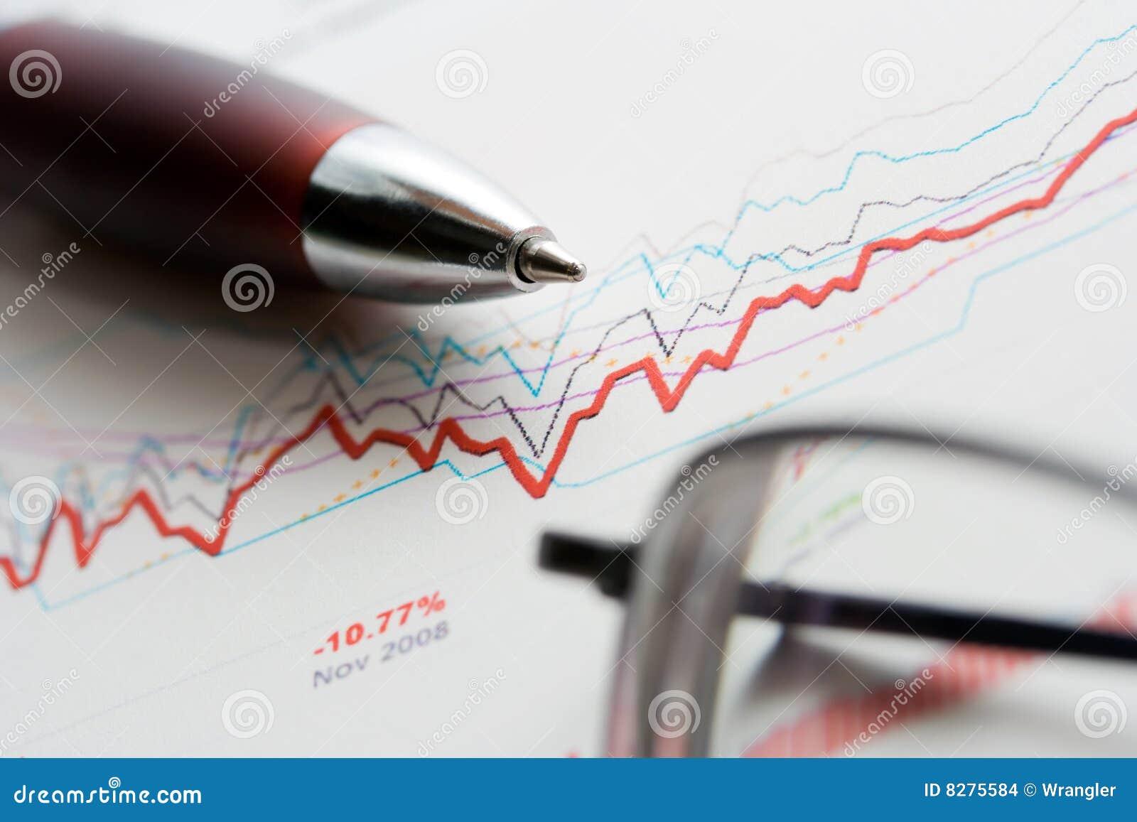 A troca conservada em estoque representa graficamente a análise.