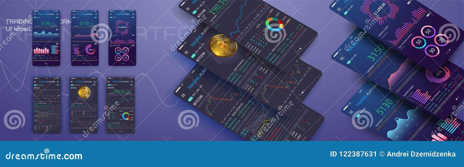 Troca de comércio app na tela do telefone Ui móvel do cryptocurrency da operação bancária Vetor em linha eps 10 da relação da com