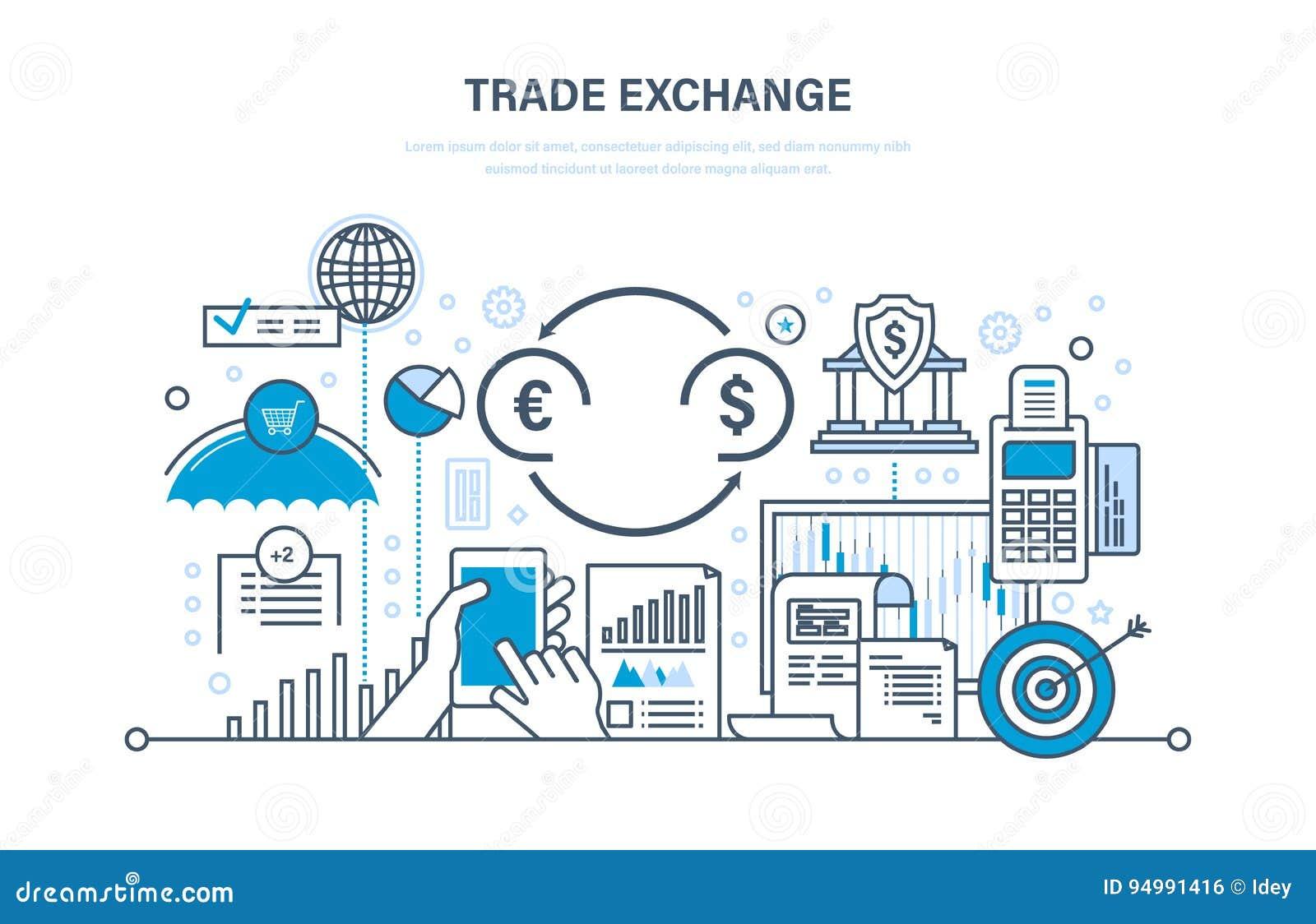 Troca de comércio, troca, proteção, crescimento da finança, indicadores econômicos, transação