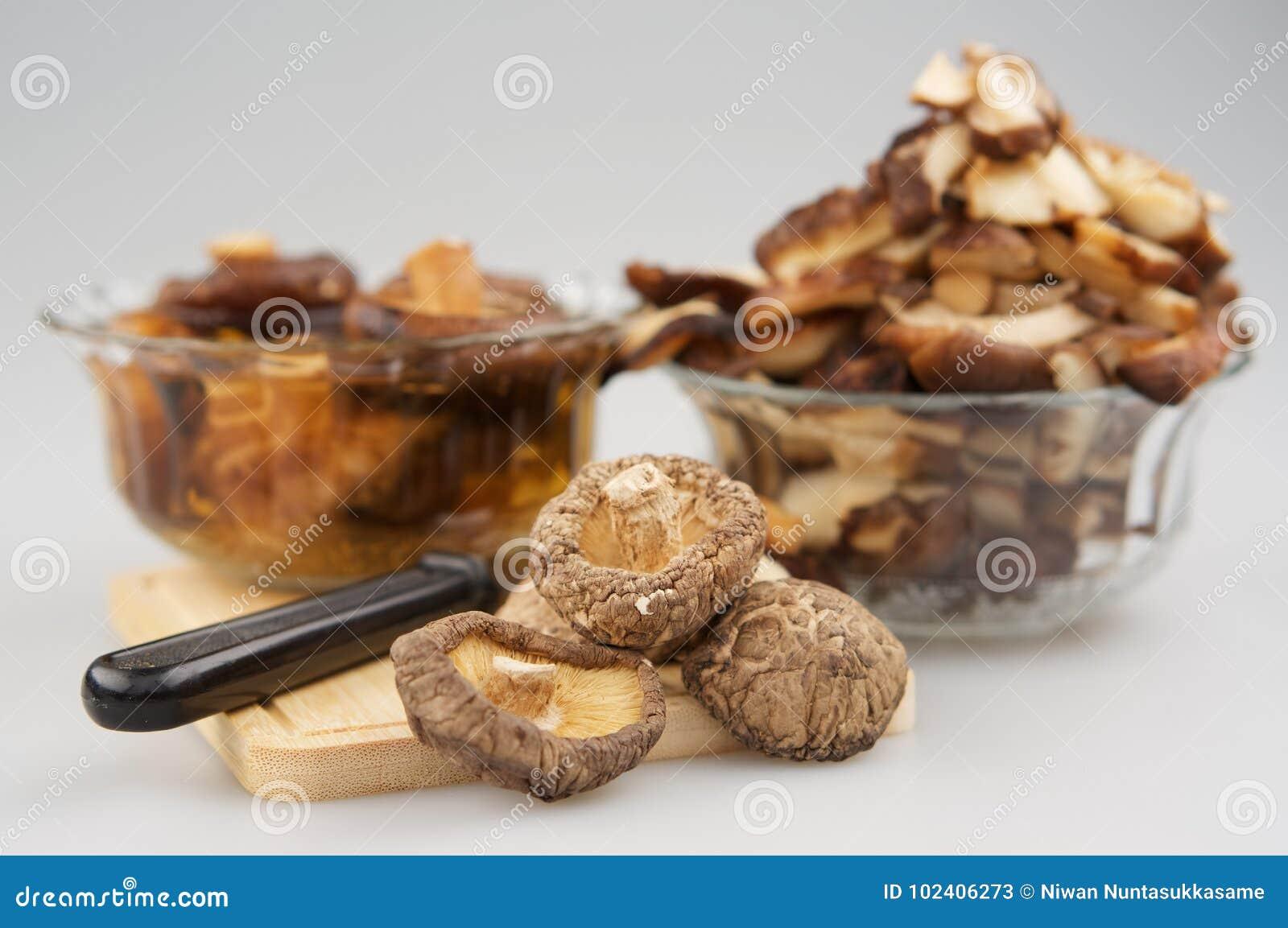 Trockene Pilz oder lentnus Shitake edodes und Messerplatz auf hackendem Brett lassen Unschärfepilz tränken und Stück des Pilzes e