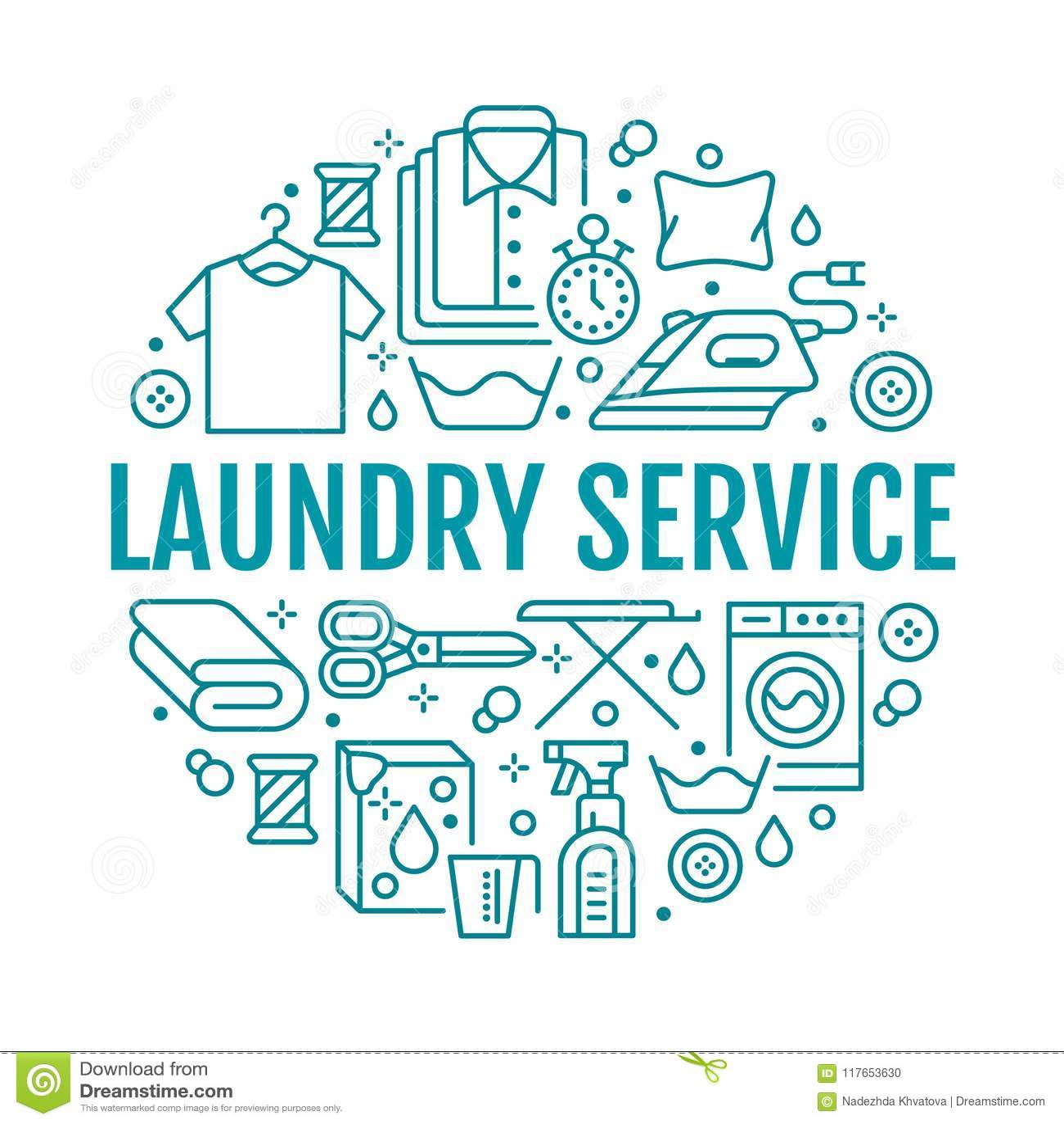 Trockenreinigung, Fahnenillustration mit flacher Linie Ikonen Wäsche-Service-Ausrüstung, Waschmaschine, Kleidungsschuh