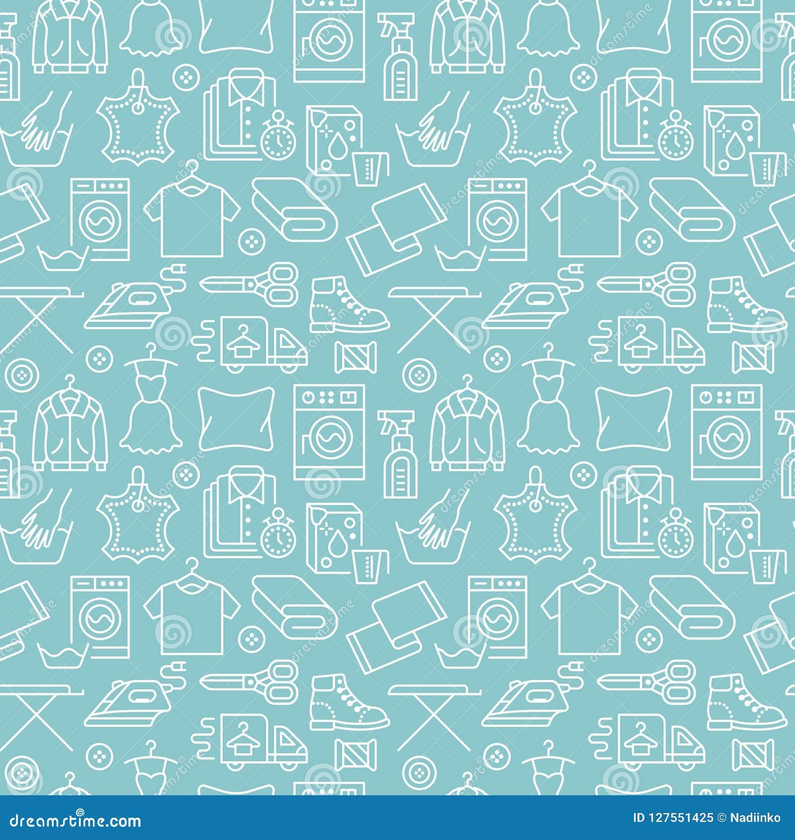 Trockenreinigung, nahtloses Muster des Wäschereiblaus mit Linie Ikonen Waschautomatservice-Ausrüstung, Waschmaschine, Kleidung
