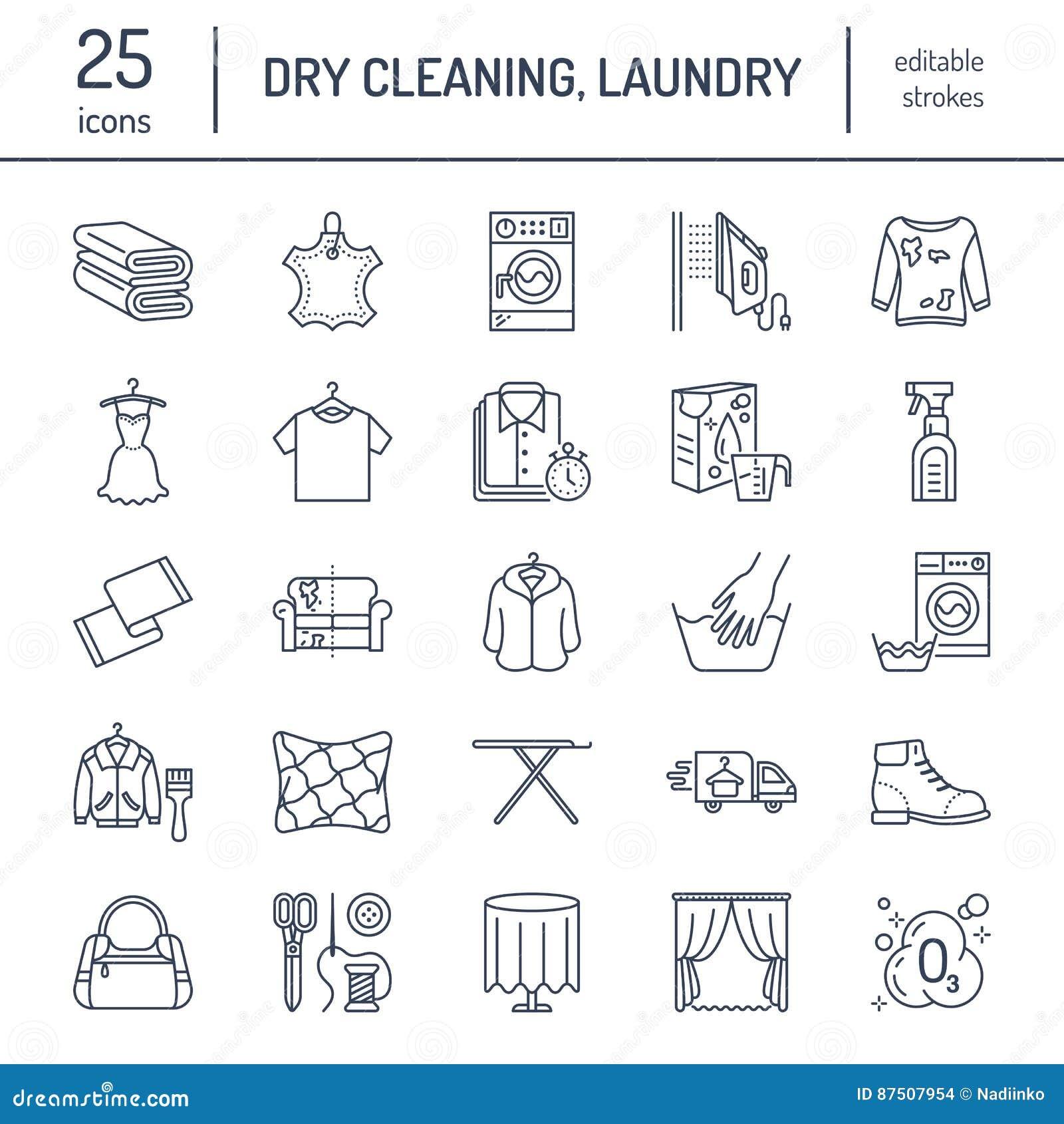 Trockenreinigung, Wäscheleineikonen Waschsalonservice-Ausrüstung, Waschmaschine, Kleidungsschuh und leaher Reparatur