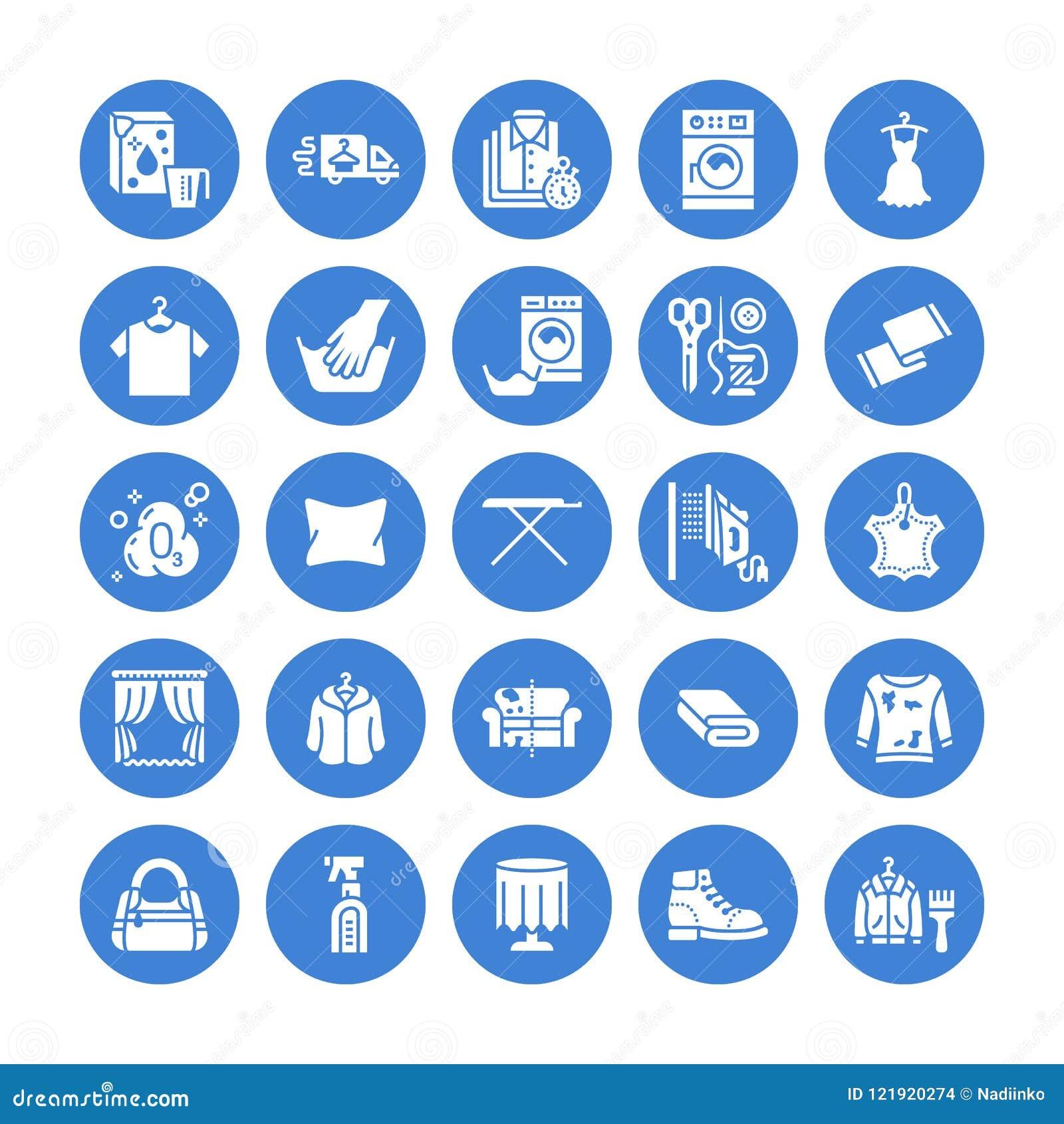 Trockenreinigung, Wäscherei flache Glyphikonen Waschsalonservice-Ausrüstung, Waschmaschinenmaschine, Schuhglanz, kleidet Reparatu