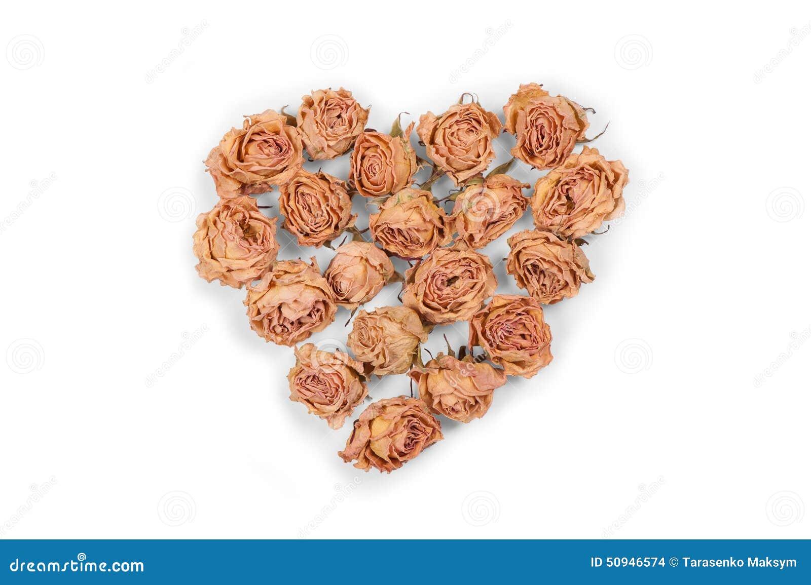 Trocknen Sie Das Rosafarbene Blumenherz, Das Auf Weißem Hintergrund ...