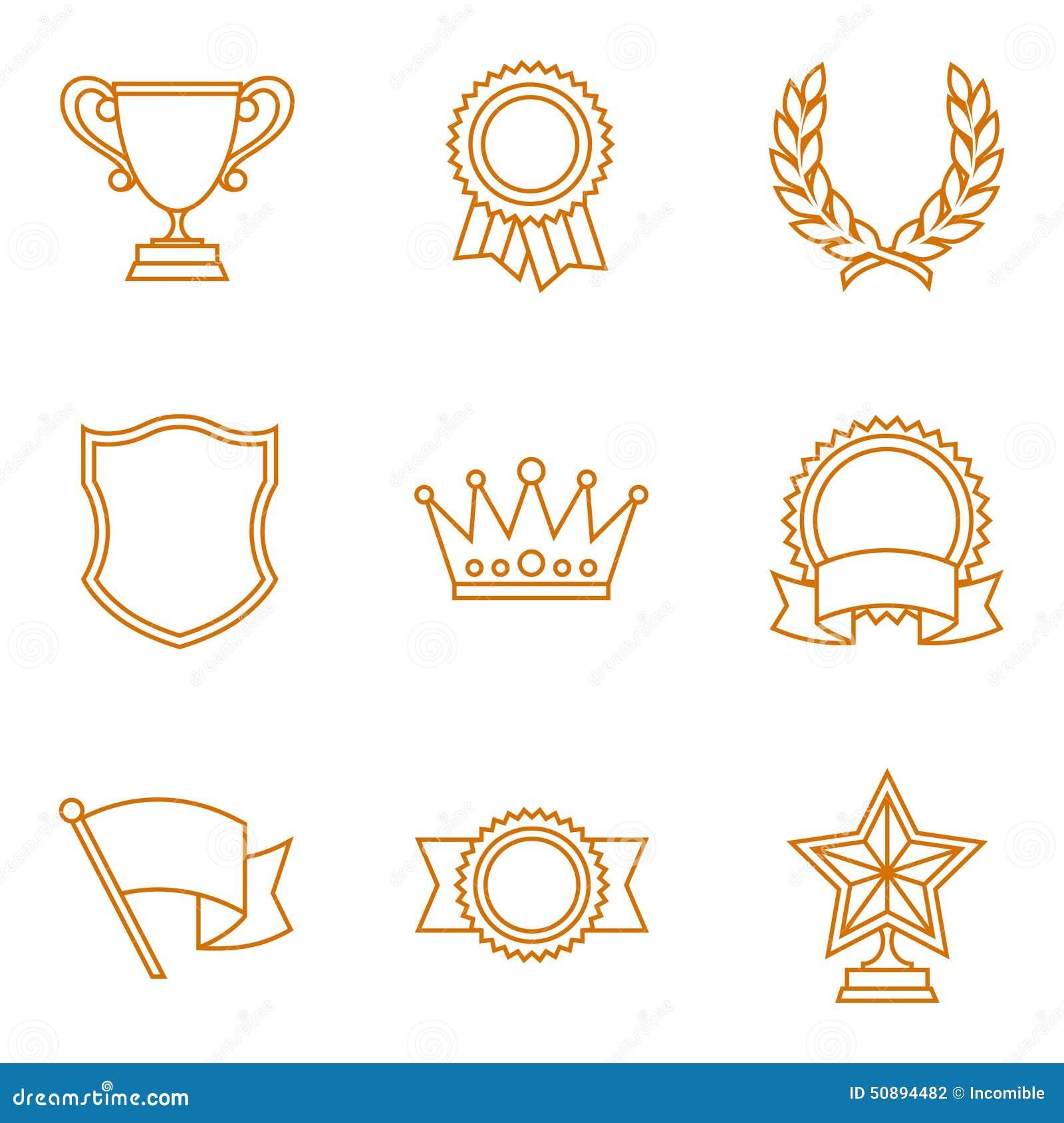 Trofé- och utmärkelsesymboler ställde in i linjär stil