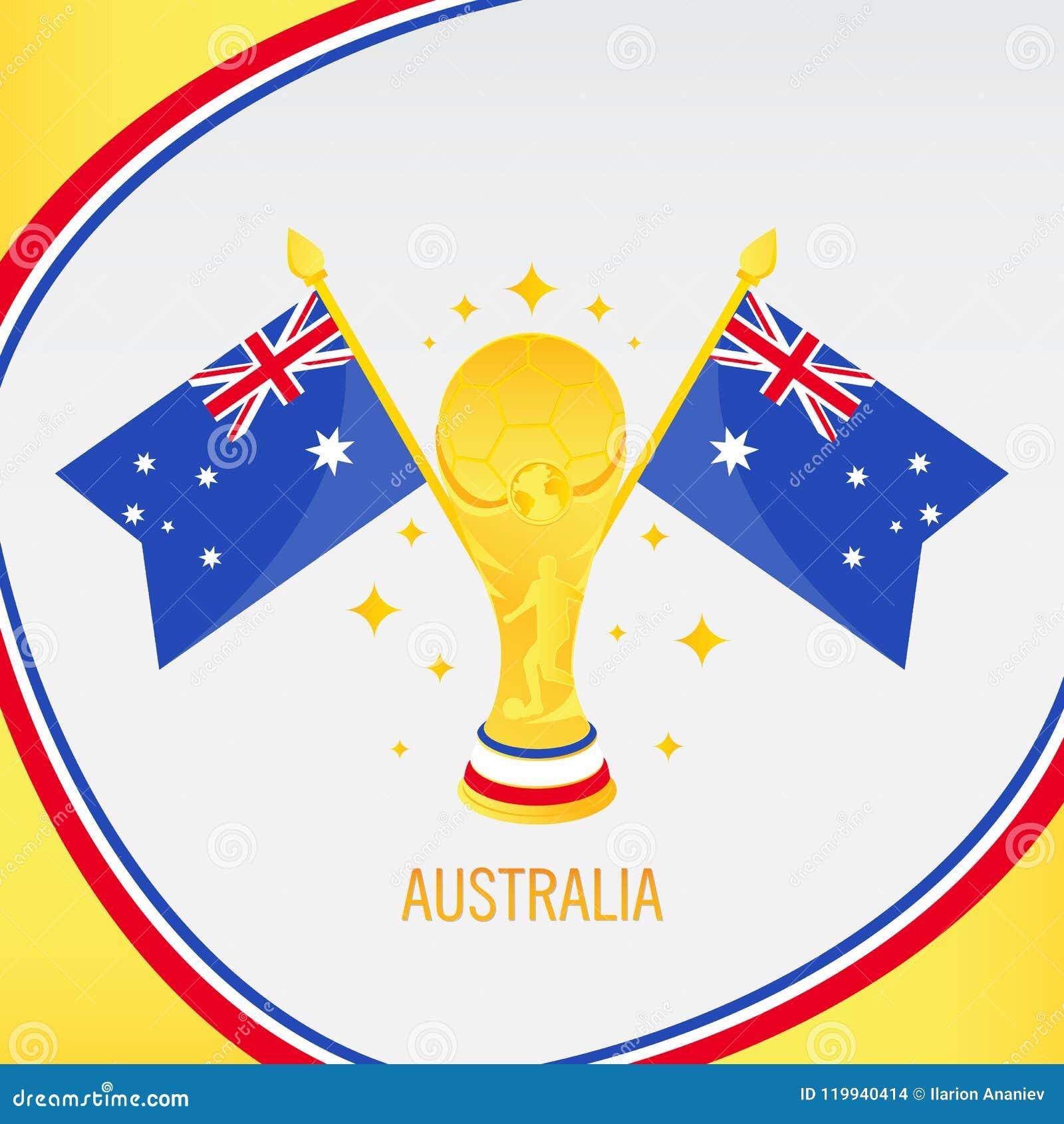 Troféu/copo e bandeira do futebol do ouro de Austrália