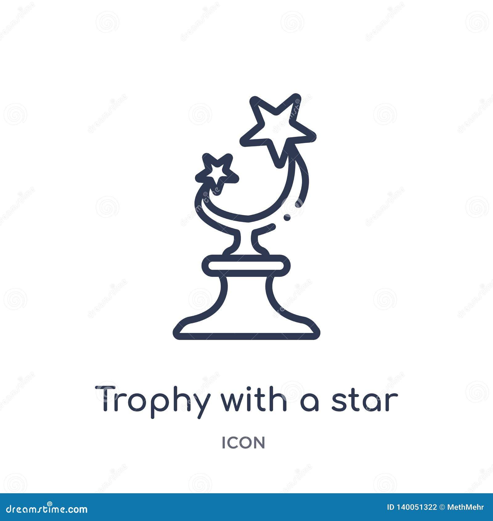 Troféu linear com um ícone da estrela da coleção do esboço do cinema Linha fina troféu com um vetor da estrela isolado no fundo b