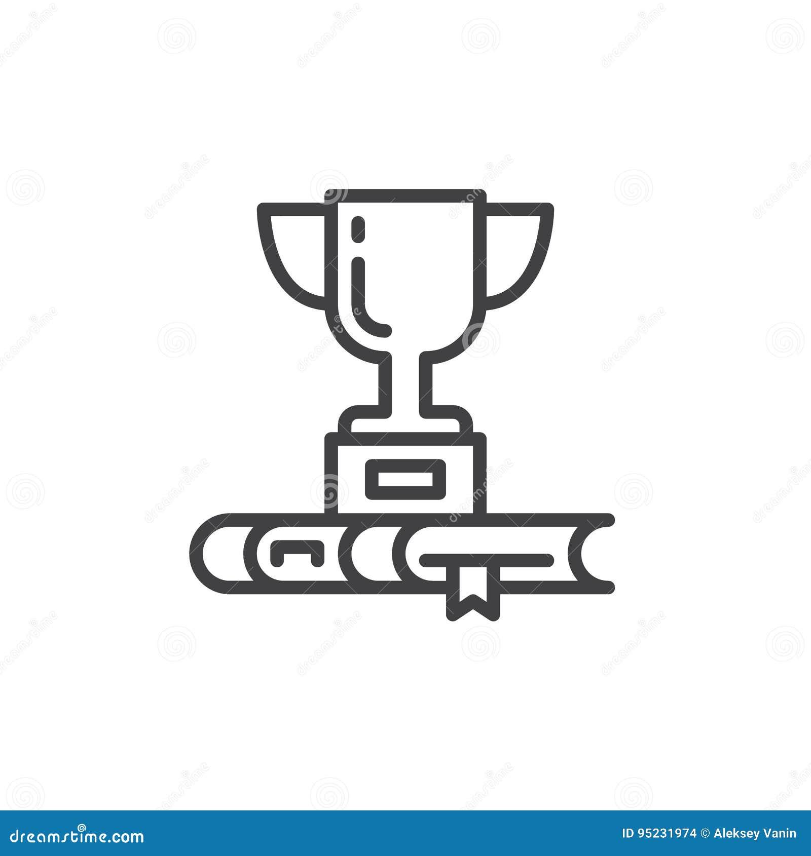 Trofeekop en het pictogram van de boeklijn, overzichts vectorteken, lineair die stijlpictogram op wit wordt geïsoleerd