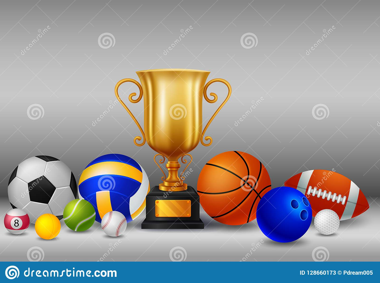 Trofeo con deportes de la bola