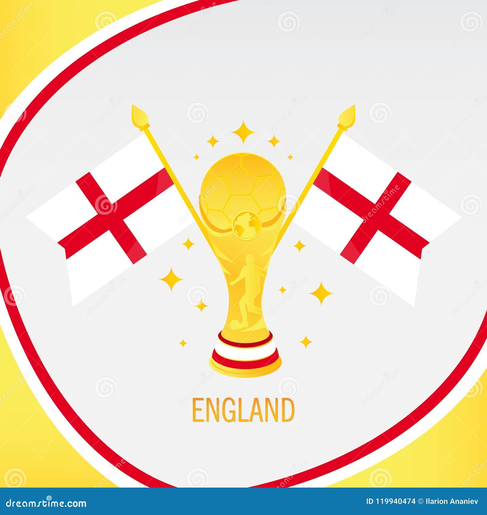 Trofeo/taza y bandera del fútbol del oro de Inglaterra
