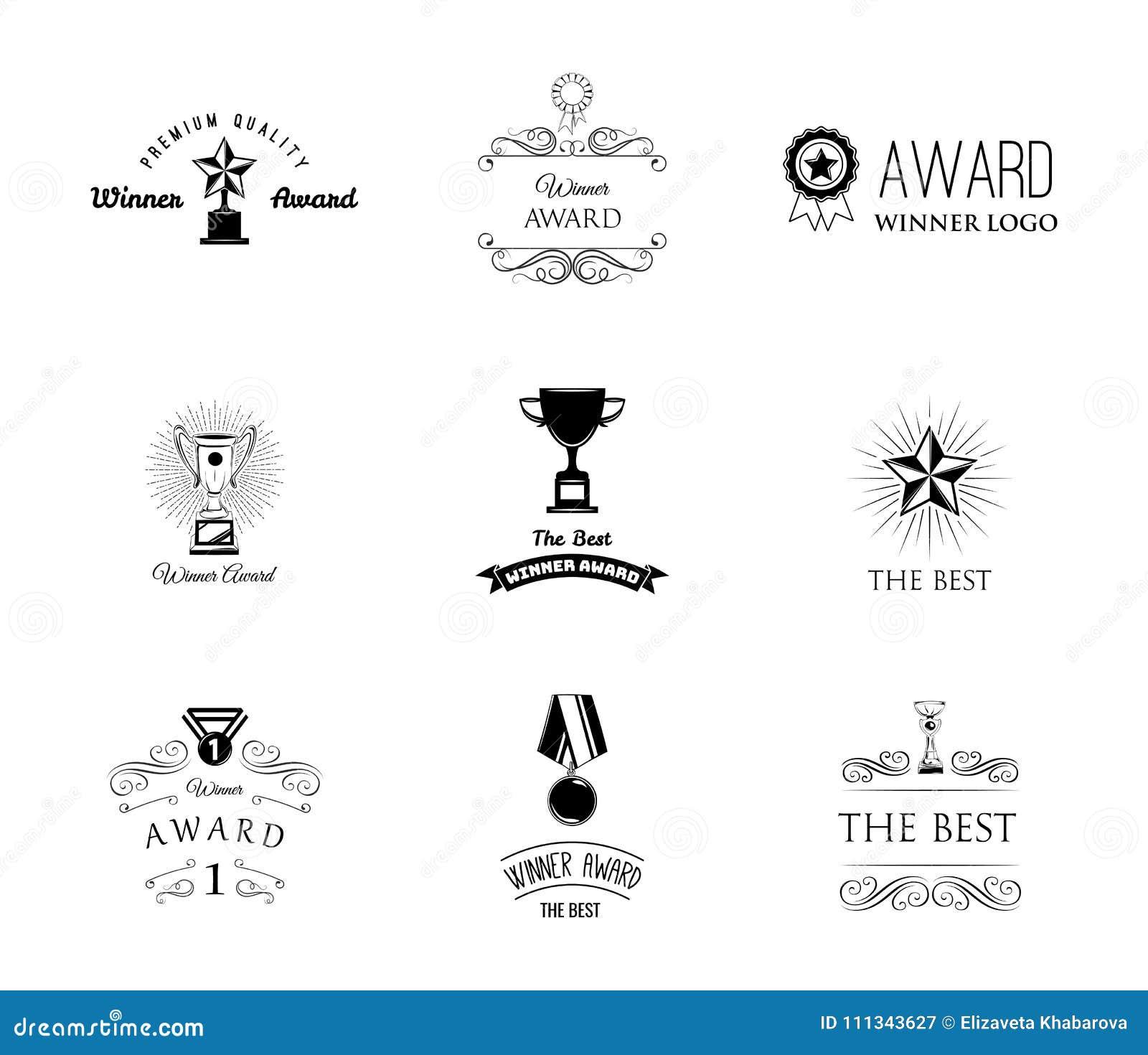 Trofeum medale, filiżanki i wygrane tasiemkowe sukces ikony, Nagrody ustawiać również zwrócić corel ilustracji wektora