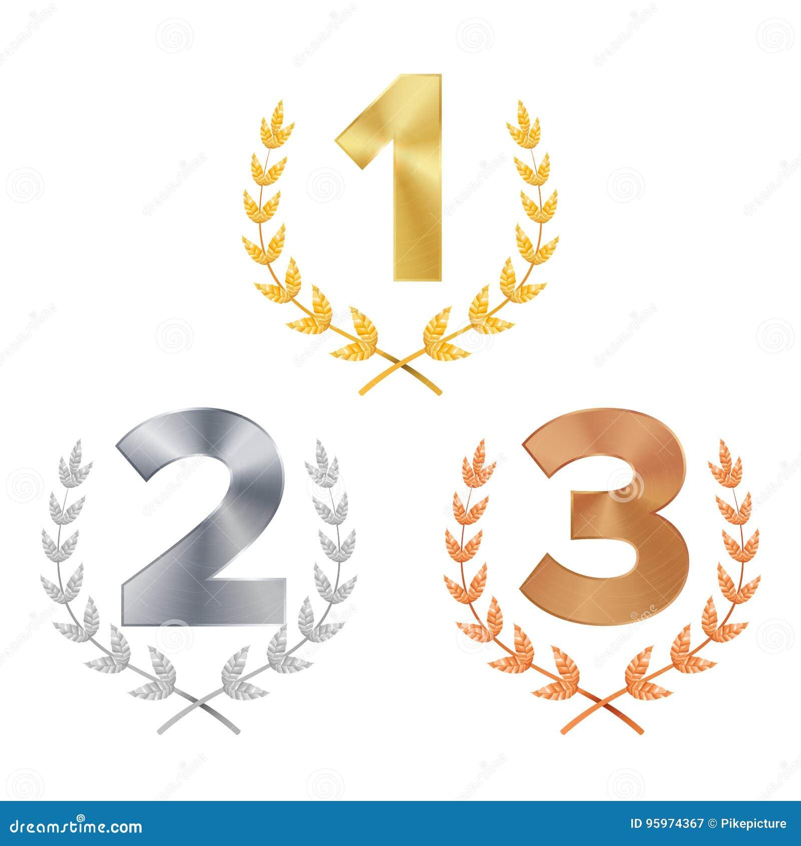 Trofeum nagrody Ustalony wektor nagradzający Postacie 1, 2, 3 Jeden, Dwa, Trzy W Realistycznym złota srebra brązu bobka wianku Zw