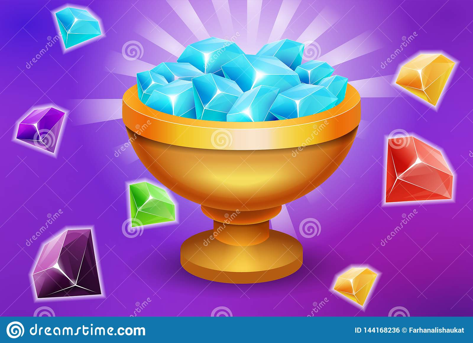 Trofeum pełno klejnotów, kamieni elementu gemowe wartości dla i