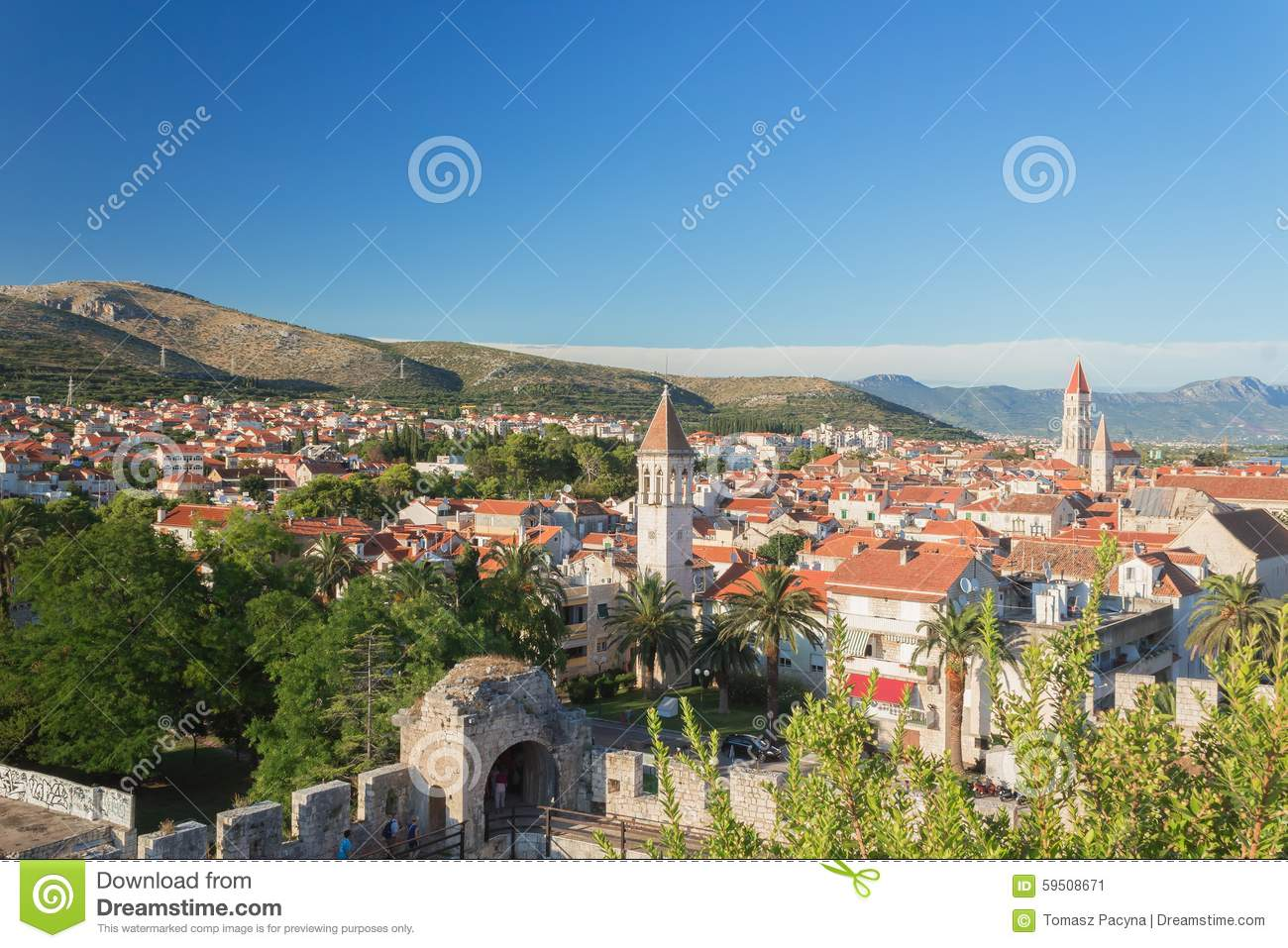 Trogir - historic town in Croatia (Dalmatia). Aerial view on ancient Trogir. Summer vacation concept