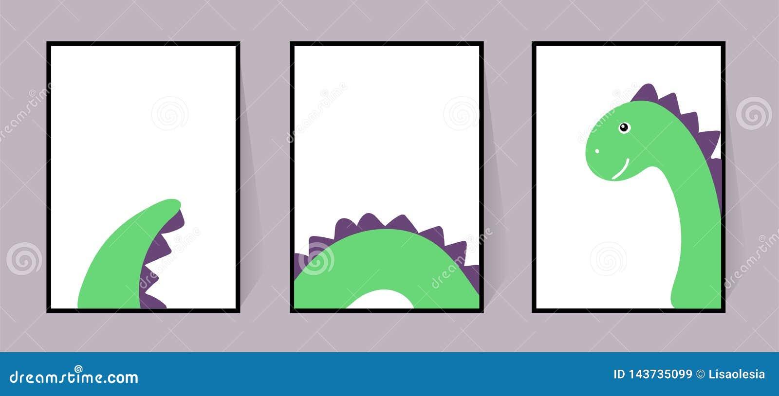 Trois affiches avec un dinosaure vert mignon Vecteur Dino frais Réglé pour des murs, cartes, invitations Dessin scandinave Illust