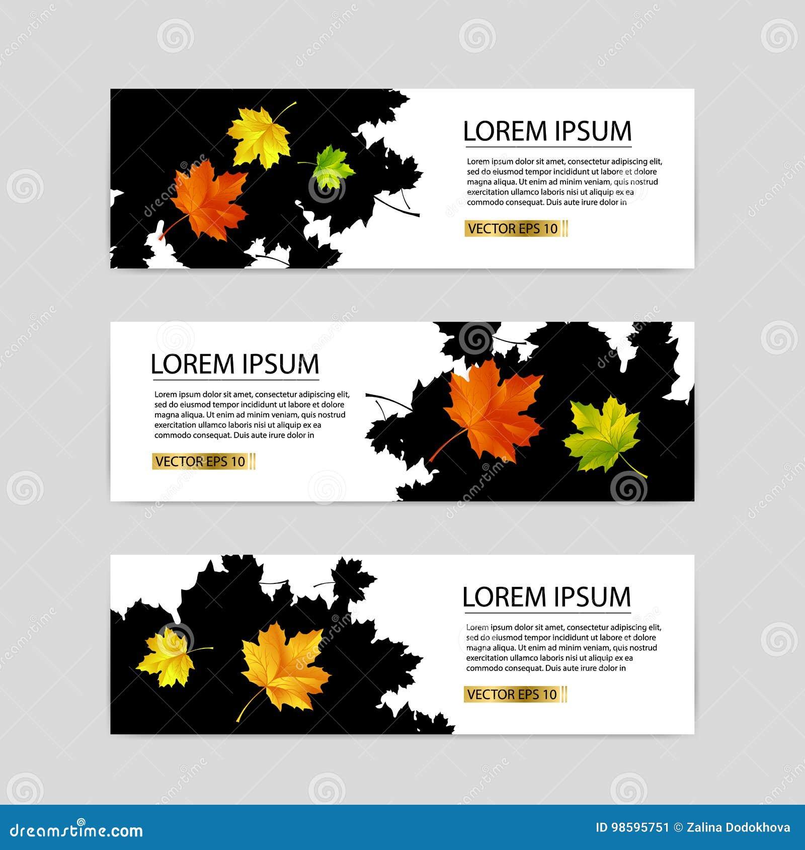 Trois bannières d automne avec le vecteur coloré de feuilles