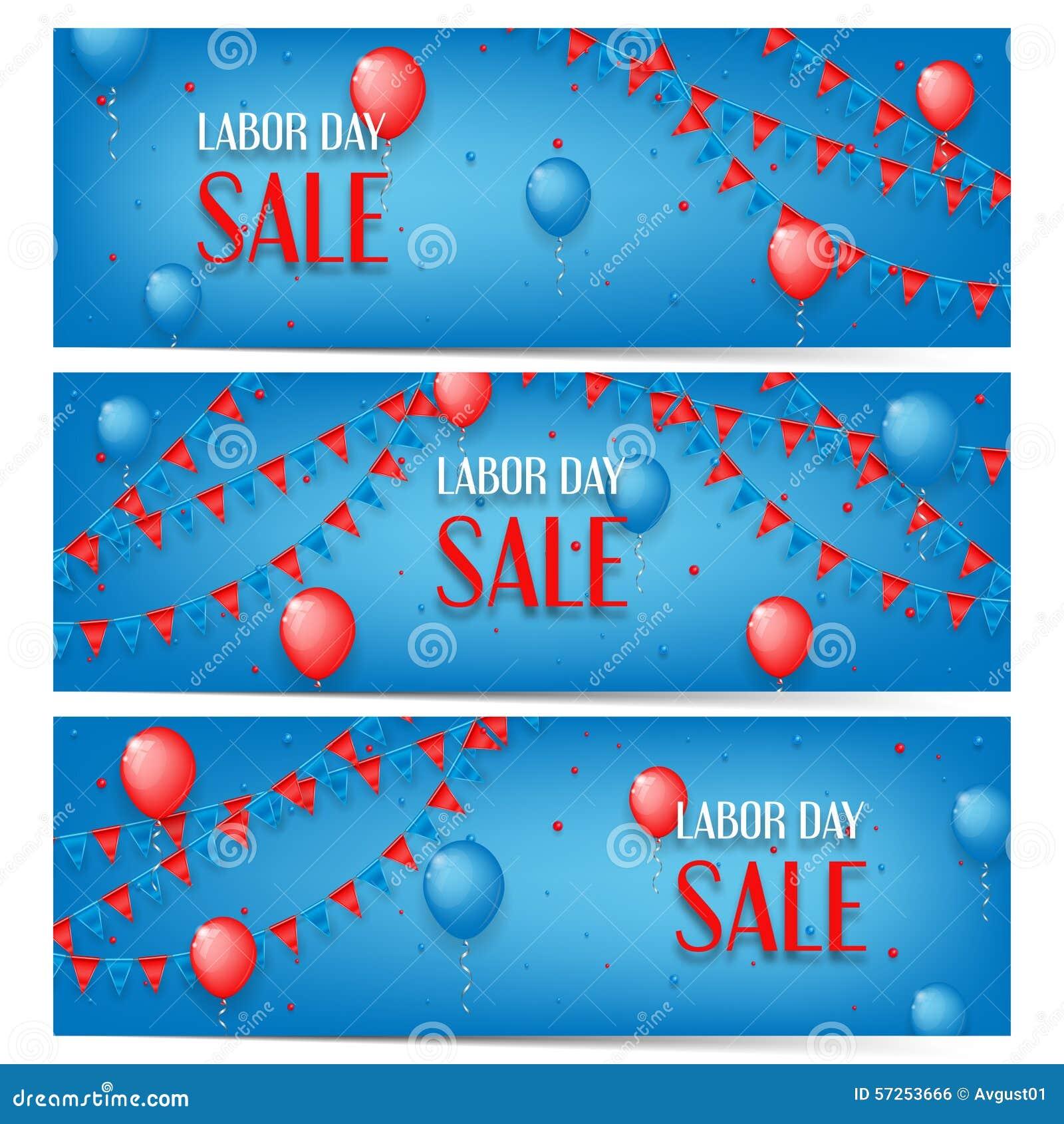 Trois bannières de vente de Fête du travail