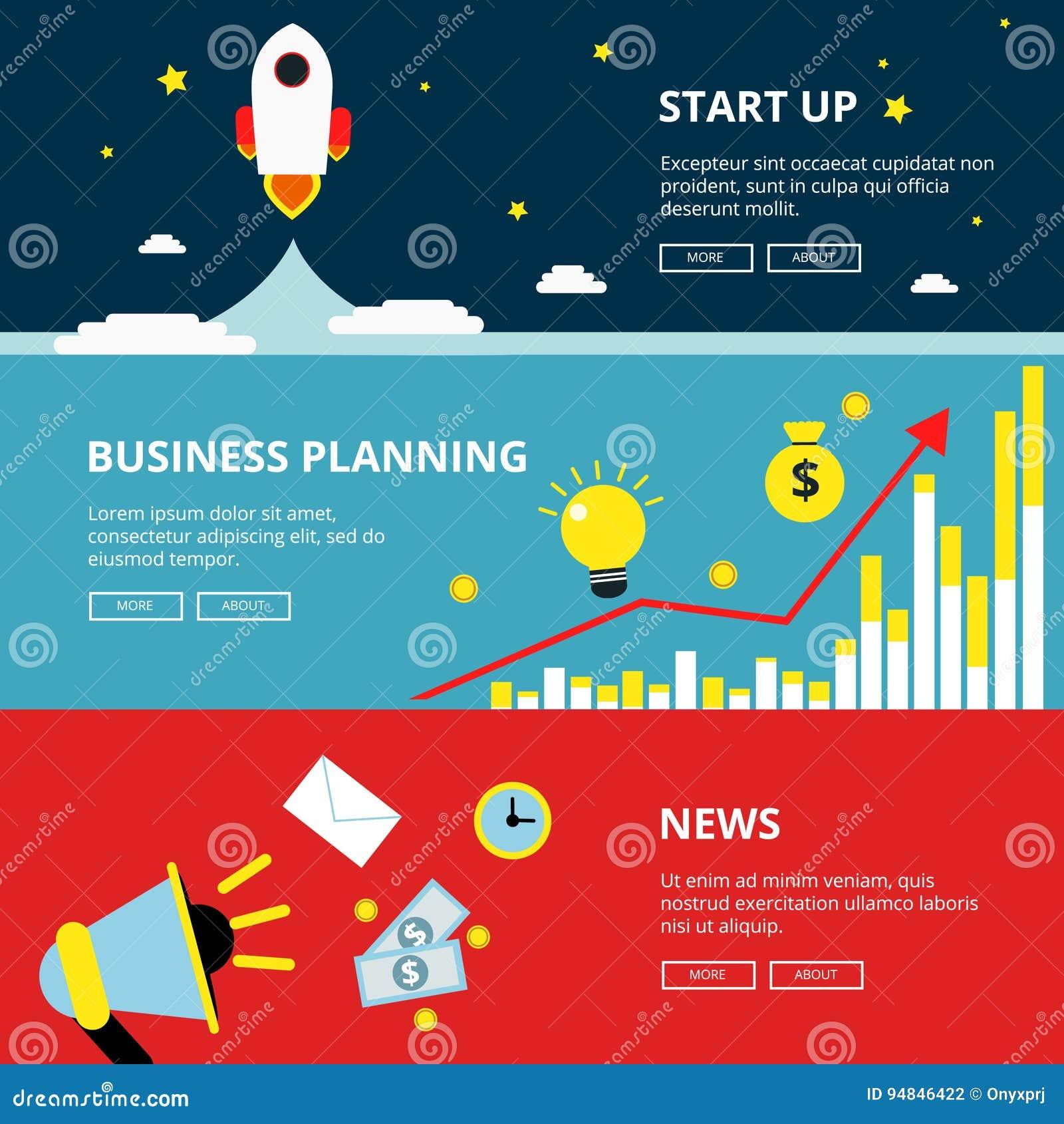 Trois bannières horizontales de Web d optimisation d affaires et de technologie Illustrations de la publicité réglées dans le sty